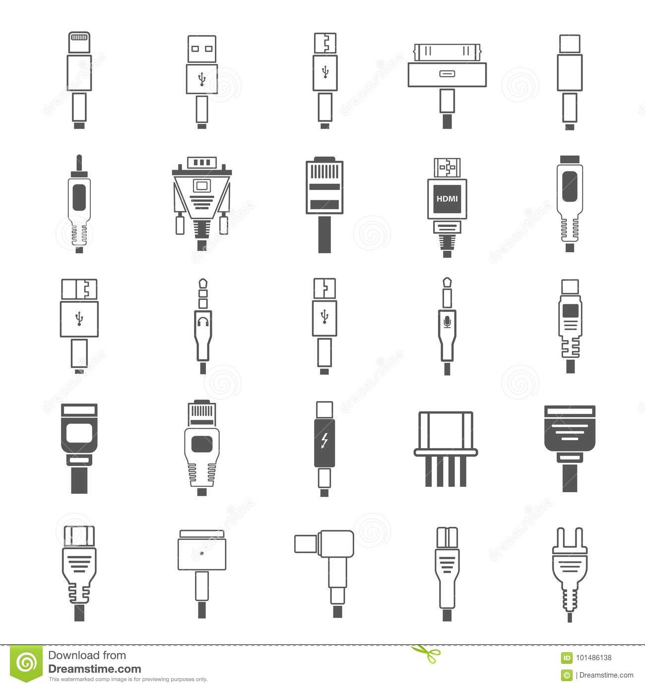 Electric Plug Connectors And Jack Flat Line Icons Set