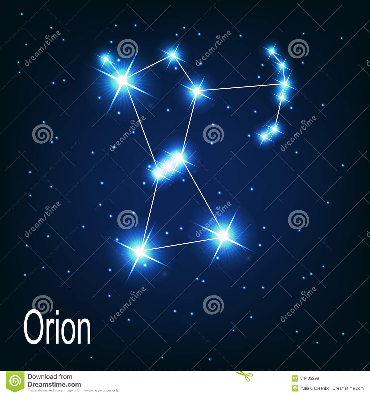 The Constellation Orion Star In The Night Sky. Royalty Free Stock Photos - Image: 34433298
