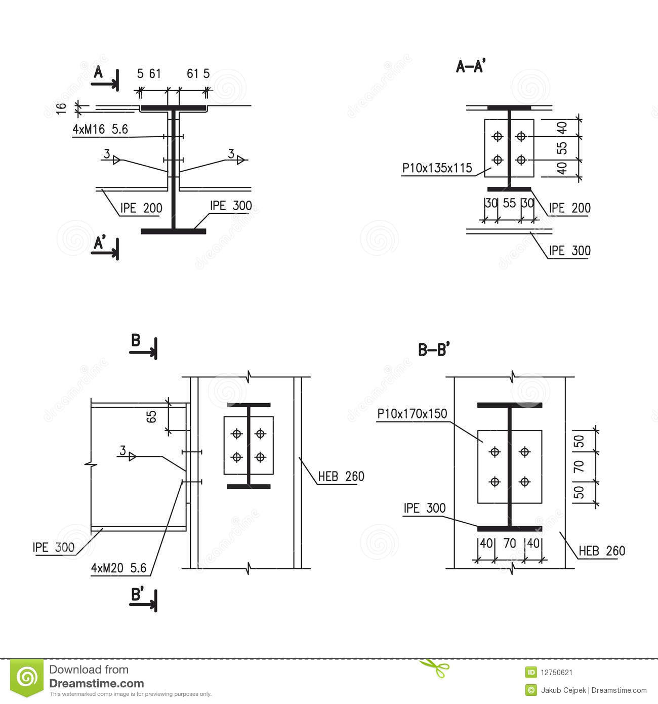 Construction Drawing Steel Girder Connection Stock
