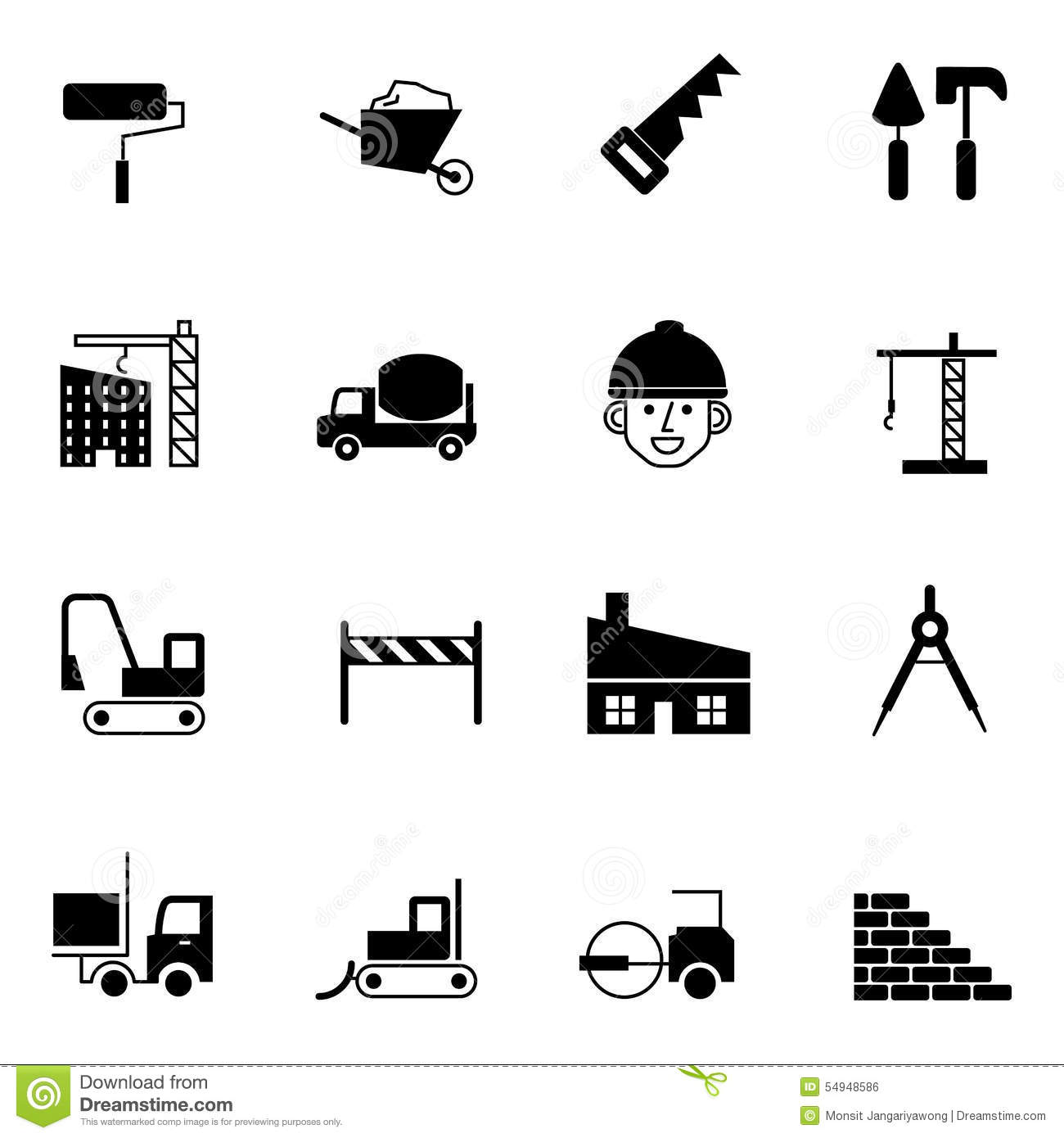 Construction Icons Set Vector Illustration Cartoon Vector