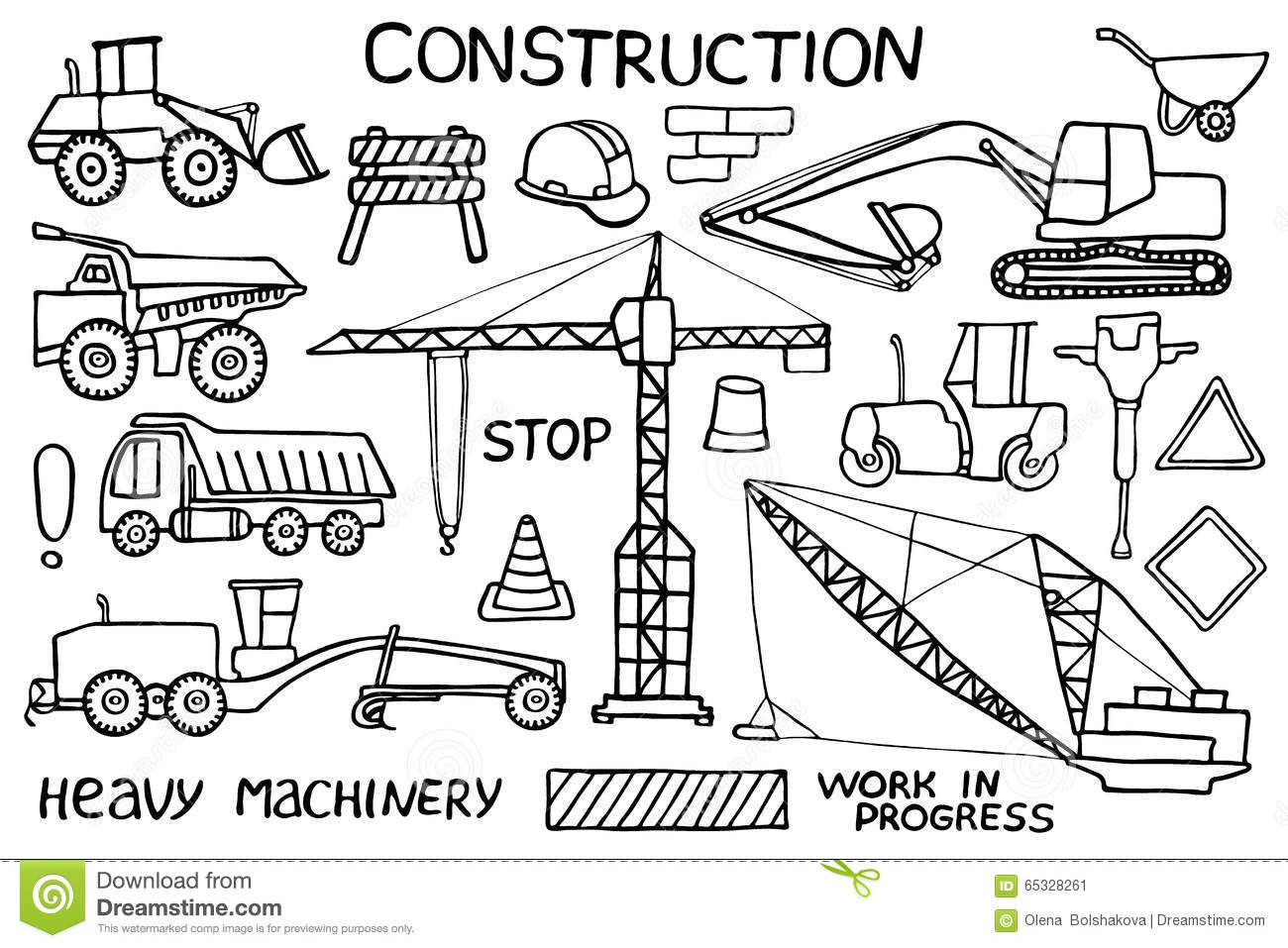 Construction And Heavy Machinery Sketch Hand Stock Vector