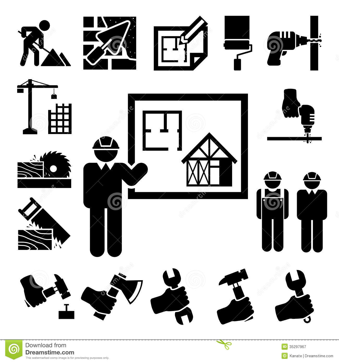 Construction Icons Set Royalty Free Stock Photography