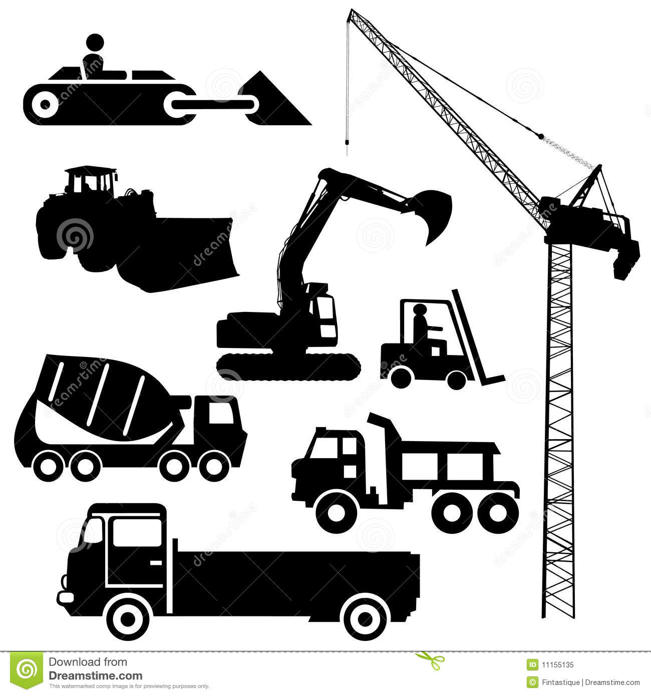 Construction Machinery Silhouettes Stock Vector