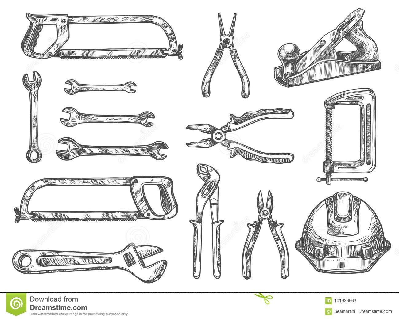 Construction And Repair Tool Isolated Sketch Set Stock