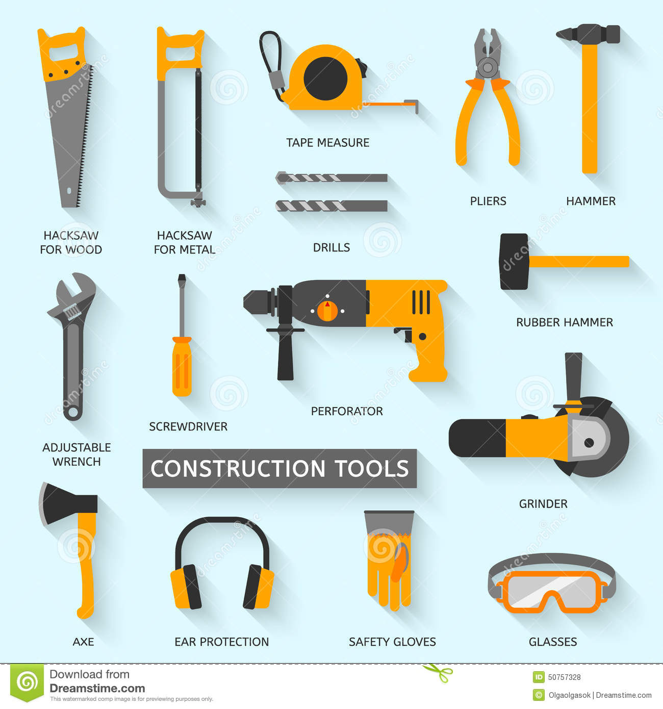 Construction Tools Vector Icons Set Stock Vector
