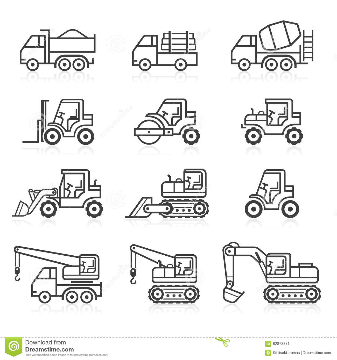 Construction Truck Icon Set Stock Vector
