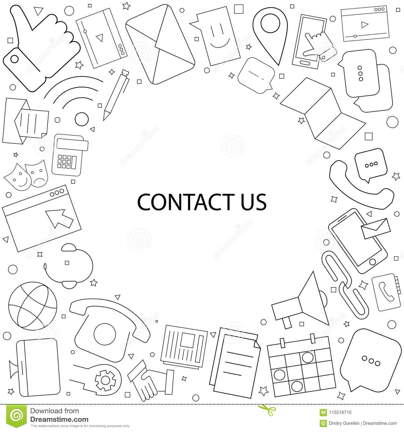 Contact Us Background From Line Icon Stock Vector