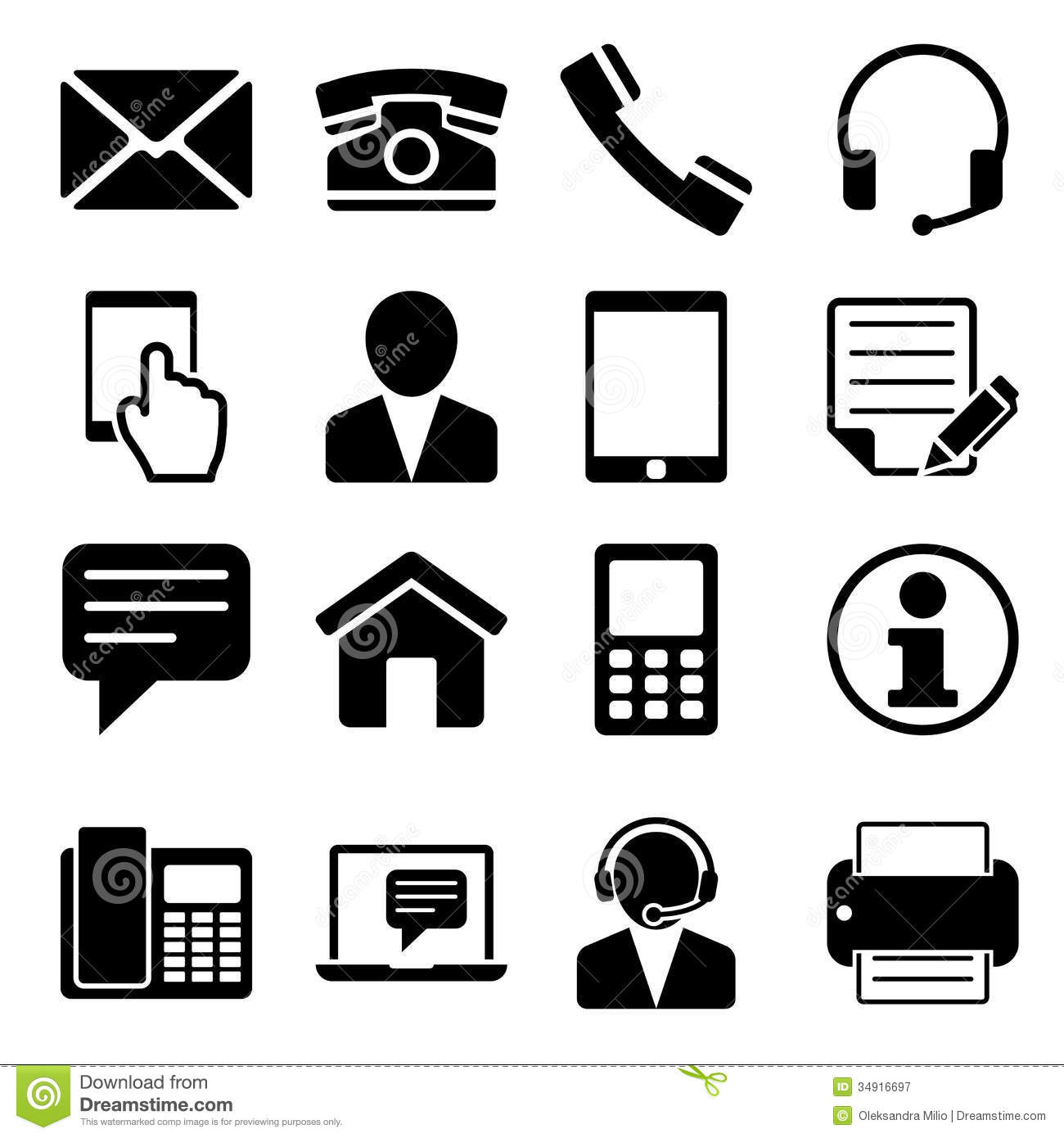 Contact Us Icons Set Stock Vector Illustration Of