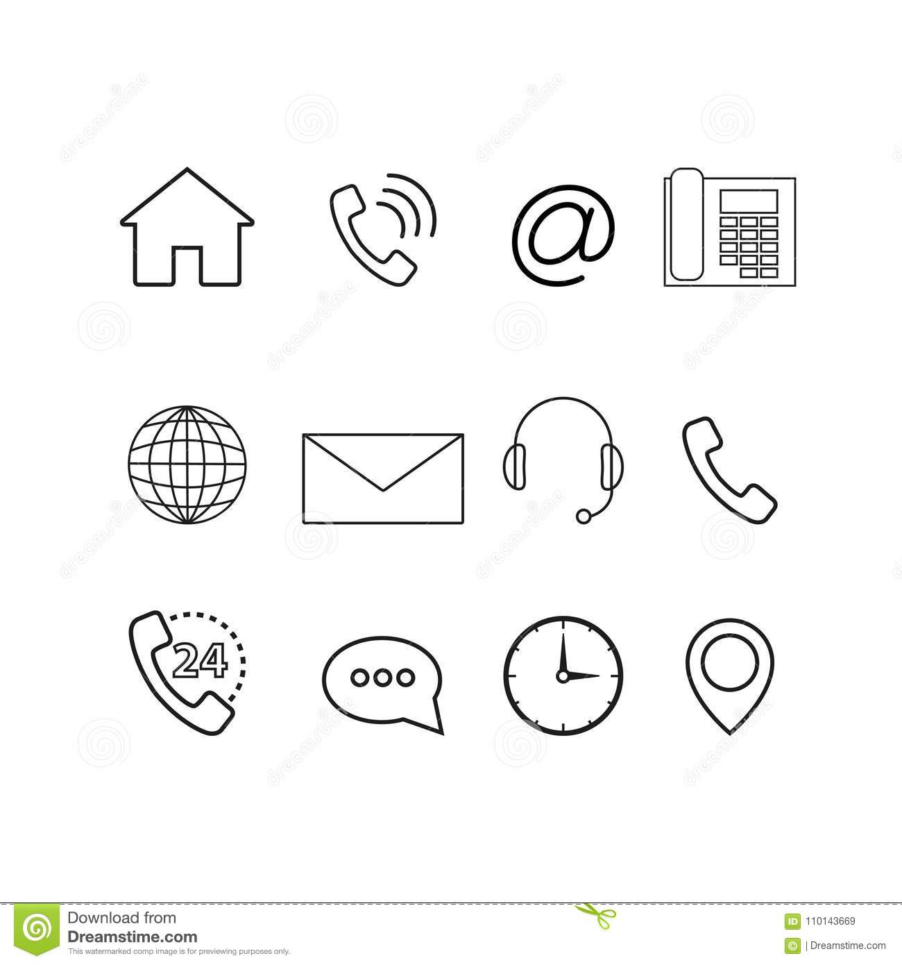 Contact Us Icons Set Stock Vector Illustration Of People