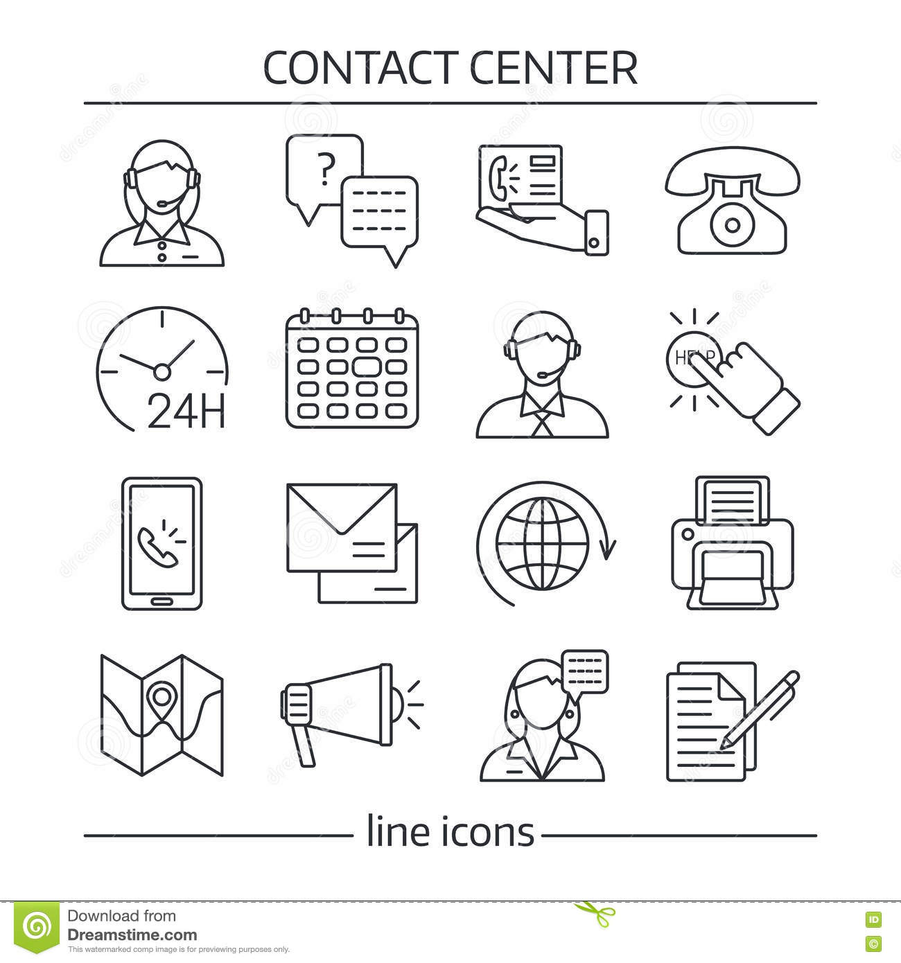 Contact Us Lines Icon Set Stock Vector Illustration Of