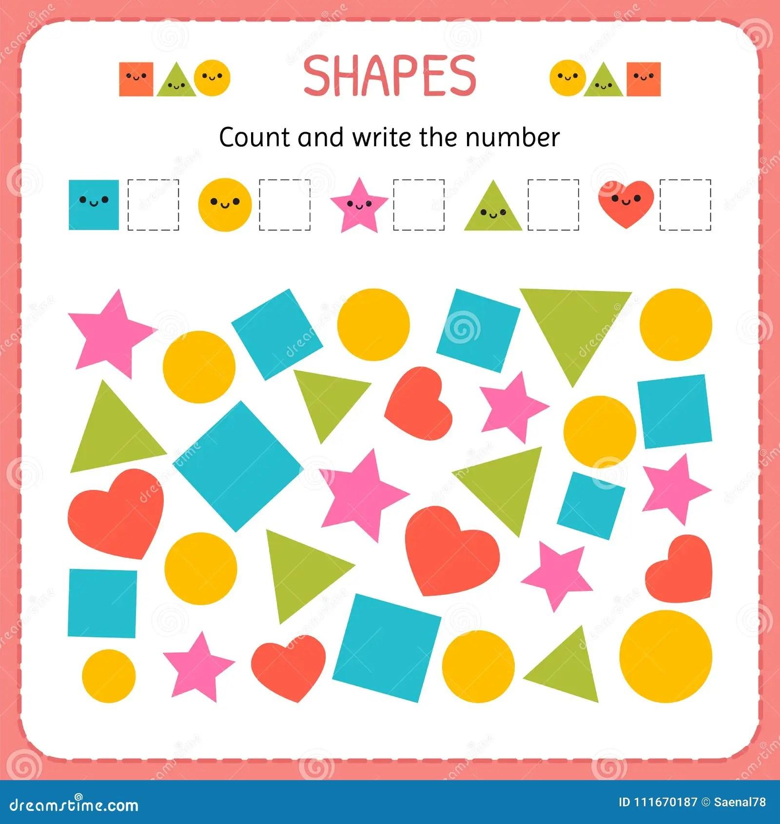 Conte E Escreva O Numero Aprenda Formas E Figuras Geometricas Pre Escolar Ou Folha Do Jardim De