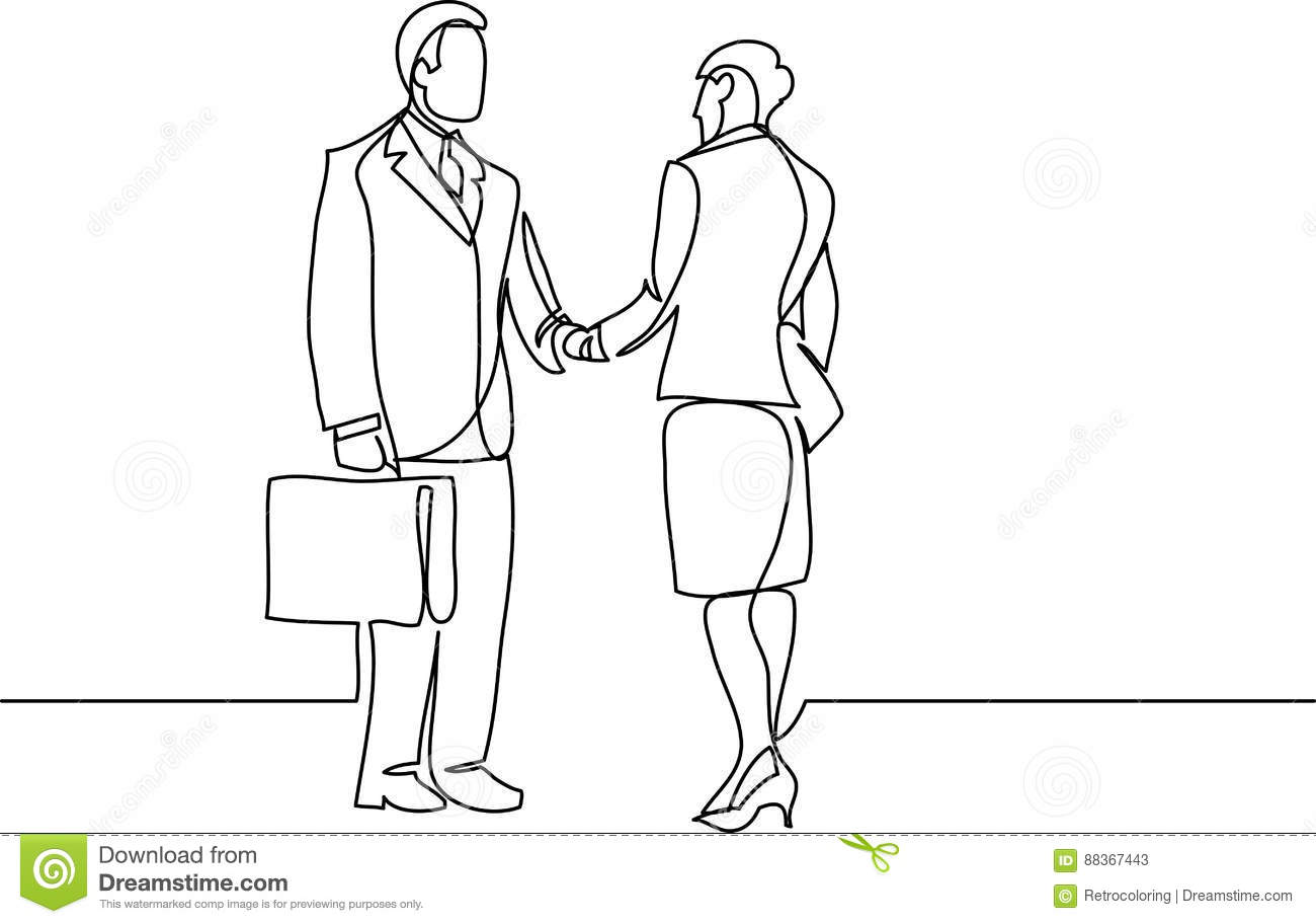 Continuous Line Drawing Of Business People Meeting
