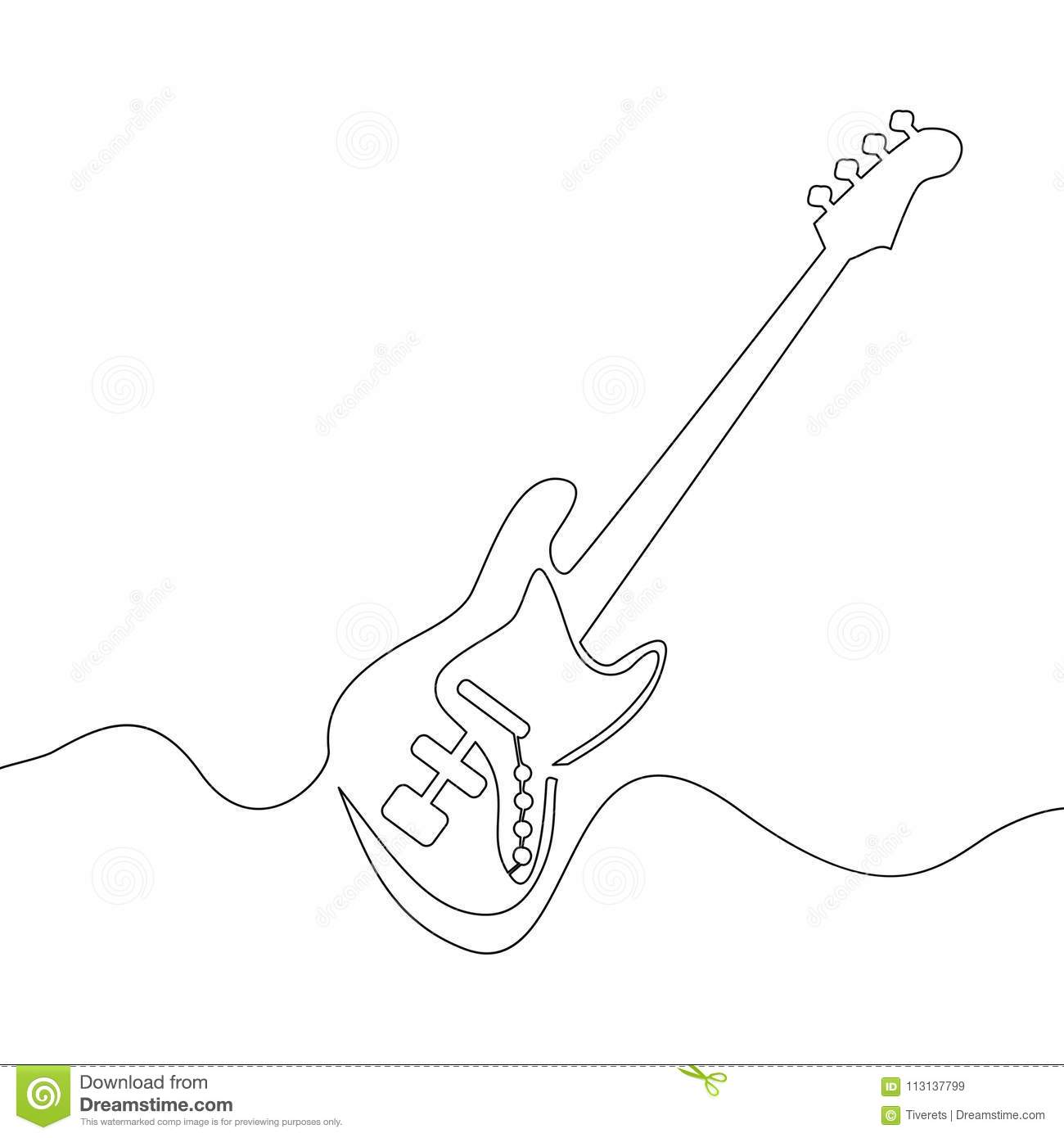 Continuous Line Drawing Of Electric Guitar Stock Vector