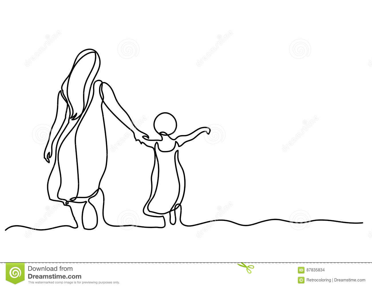 Continuous Line Drawing Of Mother And Child In The Sea