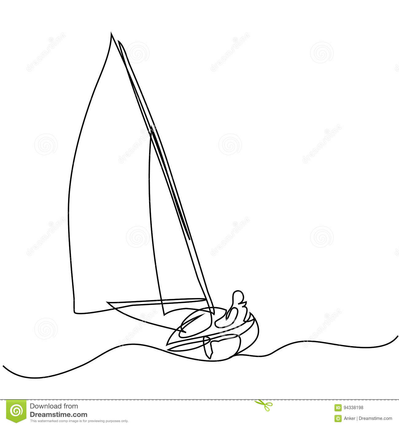 Continuous Line Drawing Of Sailboat With Captain Stock