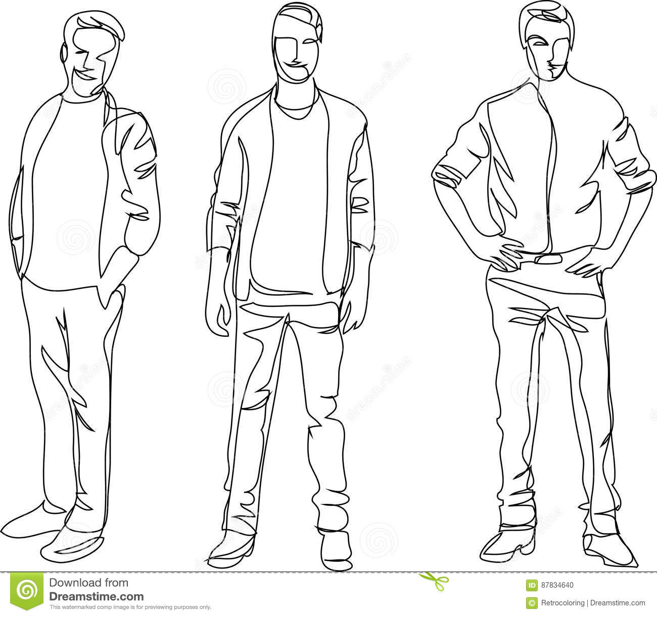Continuous Line Drawing Standing Men Stock Vector
