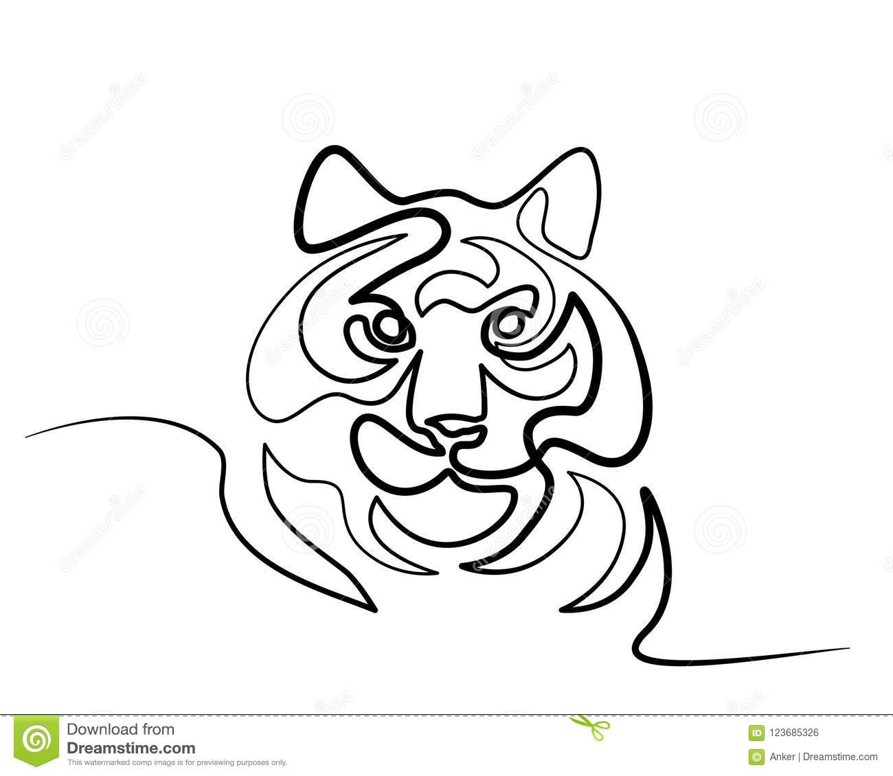 Continuous One Line Drawing Tiger Symbol Logo Stock Vector