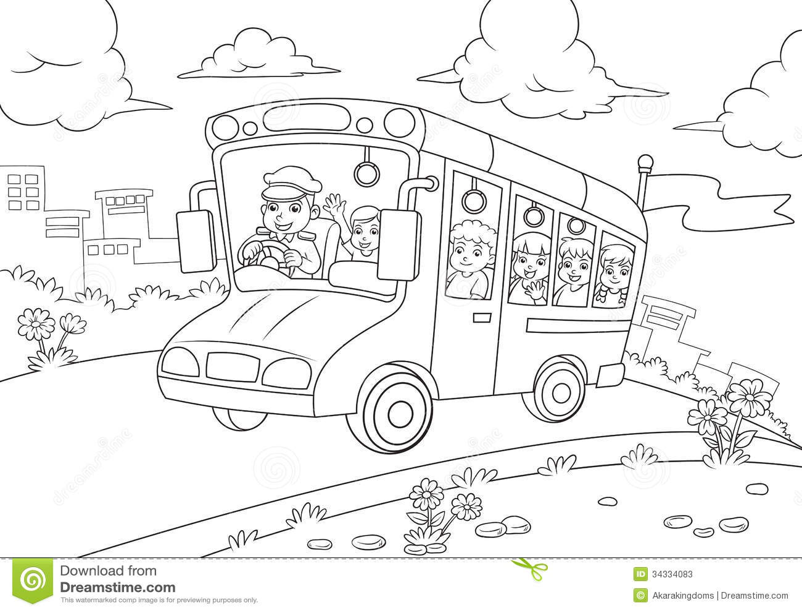 Contour D Autobus Scolaire Pour Livre De Coloriage