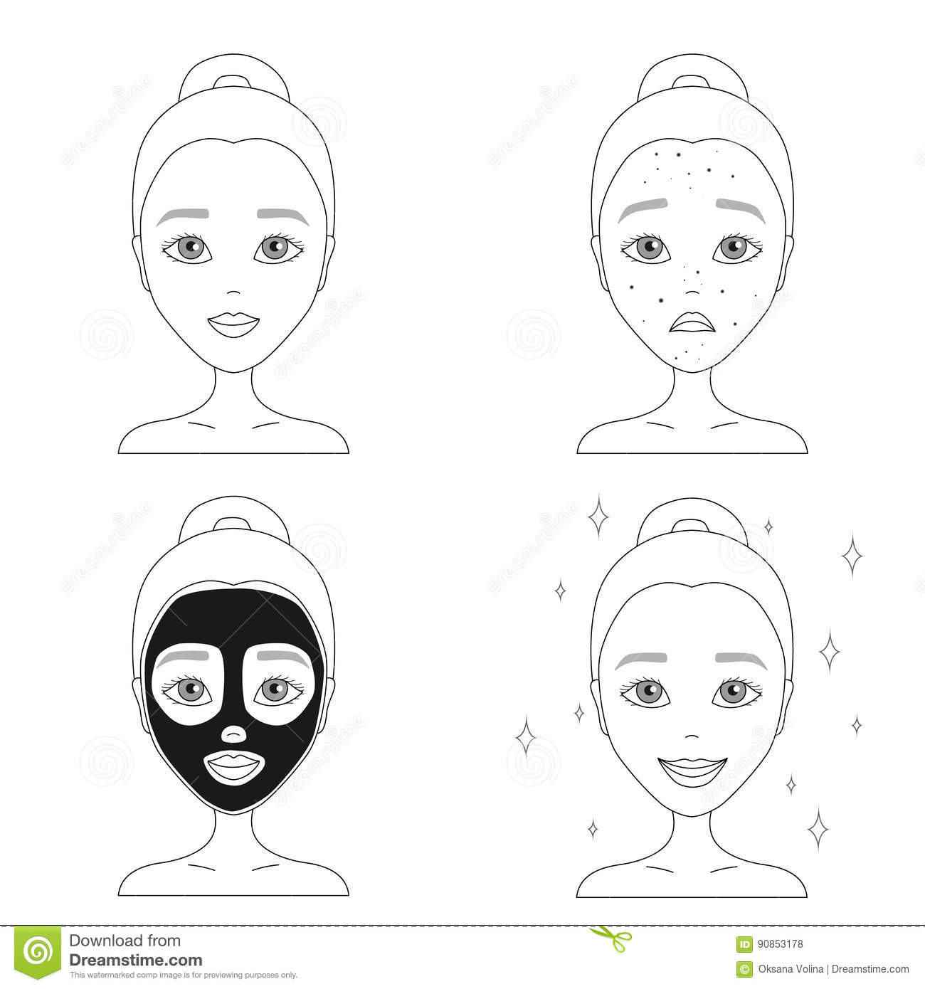 Contour Drawing Of A Sad Face Of A Girl With Acne With A