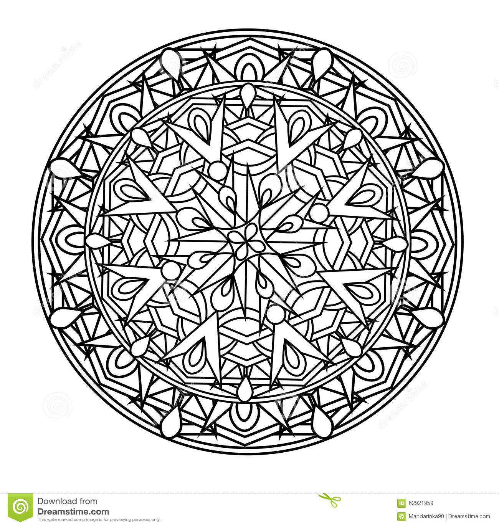 Contour Monochrome Mandala Ethnic Religious Design