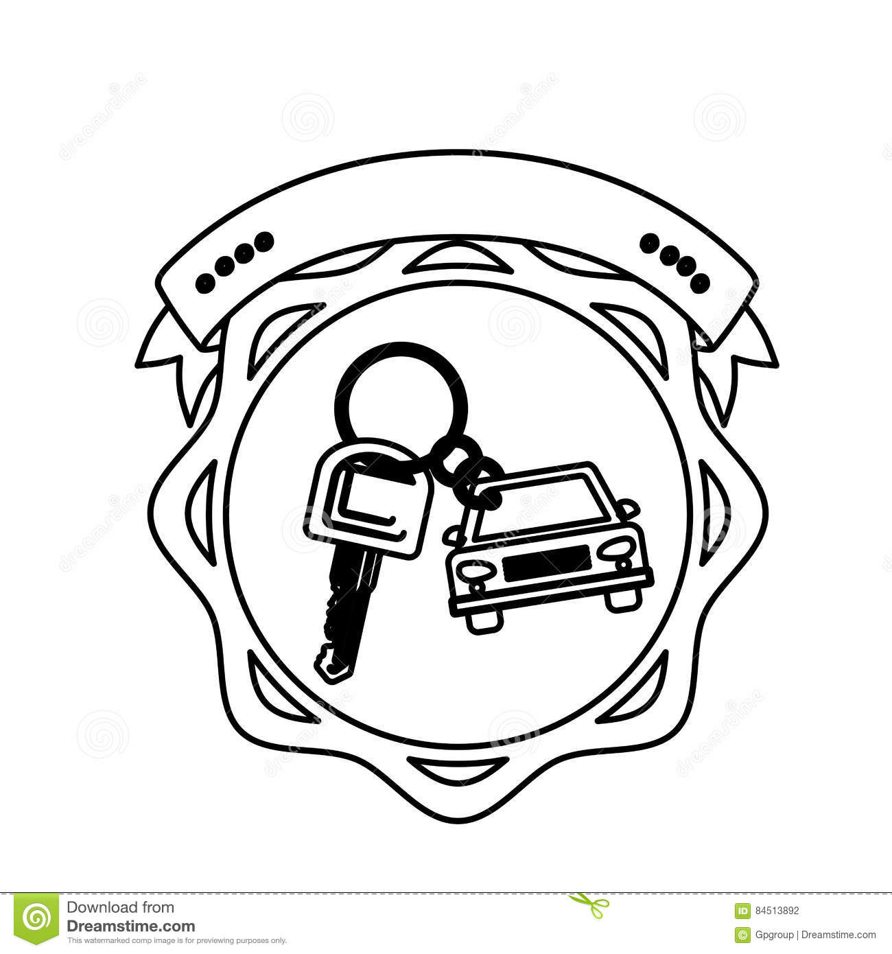 Contour Seal Key Ring Car With Label Vector Illustration