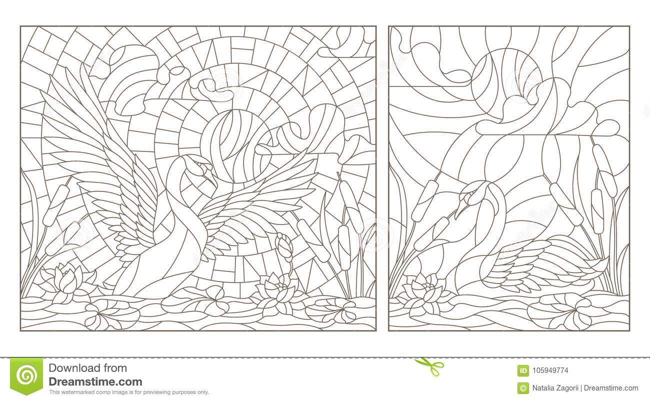 Contour Set With Illustrations Of Stained Glass With Swans