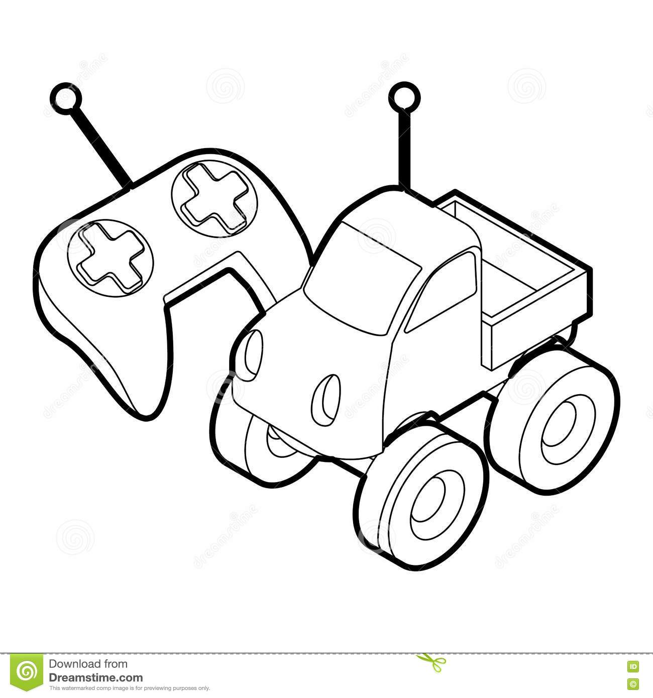 Control Remote Car Toy Outline Style Stock Vector