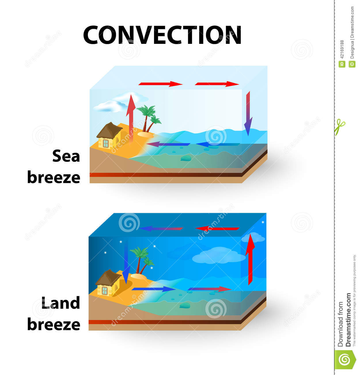Convection Land Breeze And Sea Breeze Stock Vector