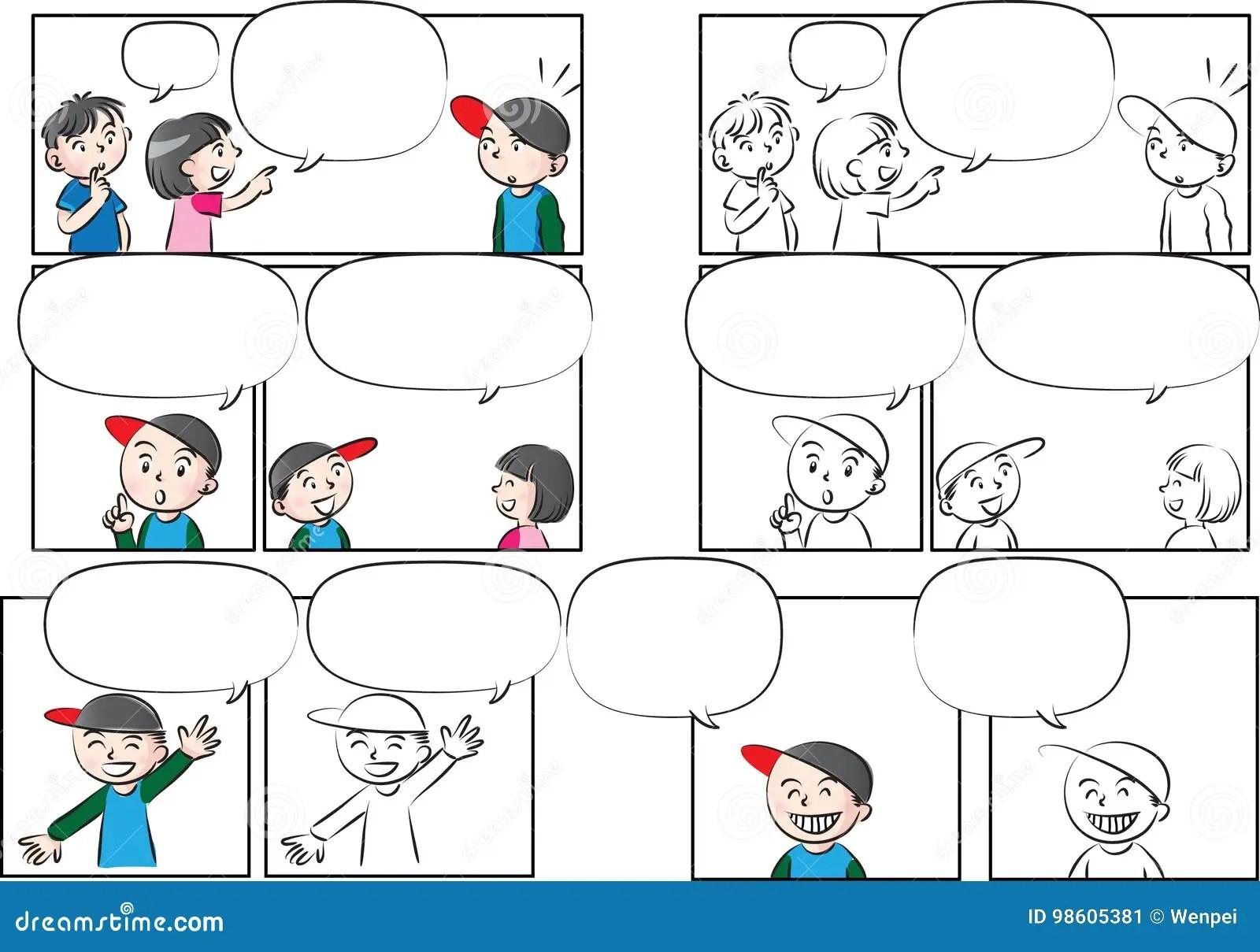 Conversazione Dei Bambini Del Disegno Di Vettore Con Il