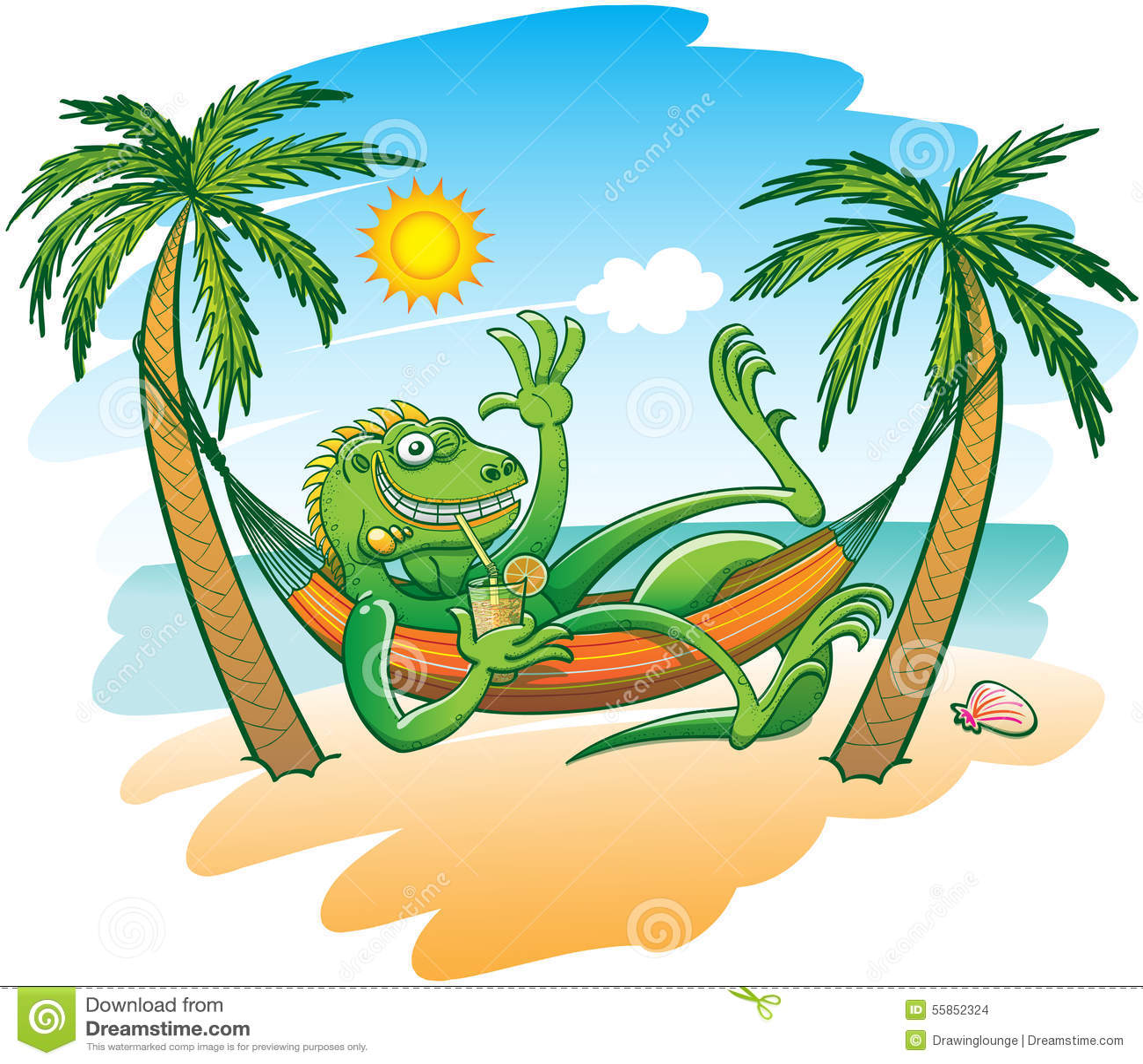 Cool Iguana Enjoying Holidays In A Hammock On The Beach
