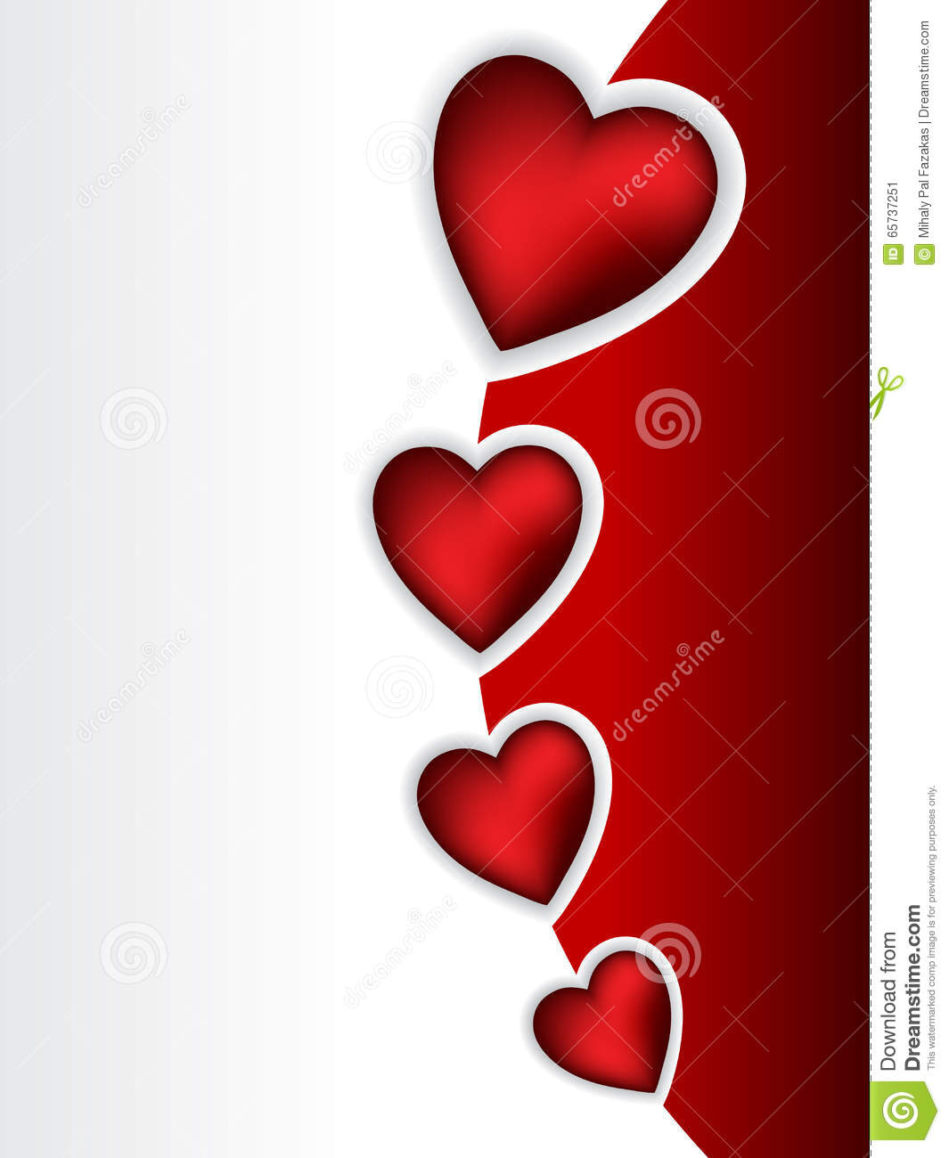 Cool Valentine Greeting With 3d Heart Shapes Stock Vector