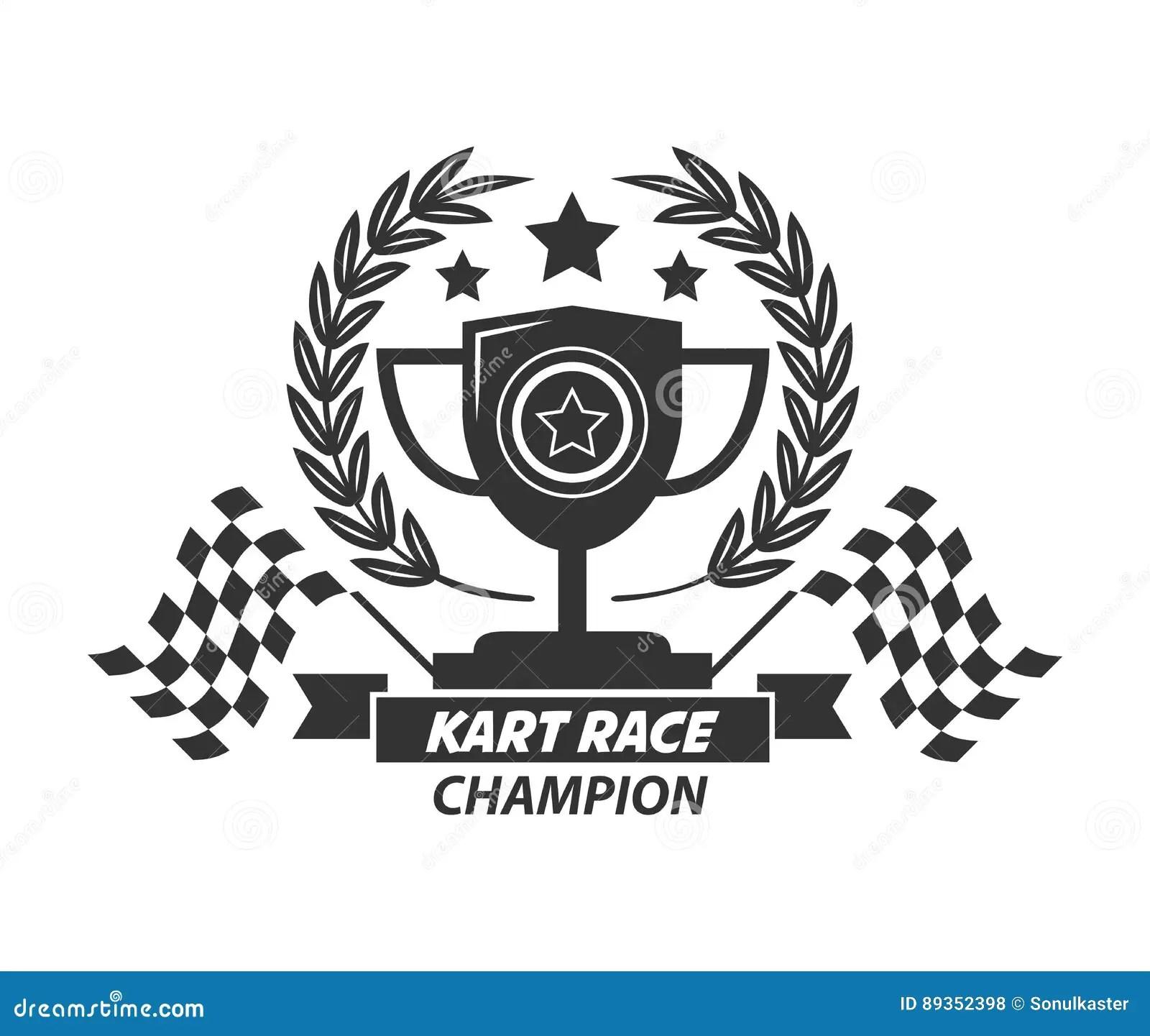 Copo De Campeao Do Logotipo De Karting Grinalda Do Louro