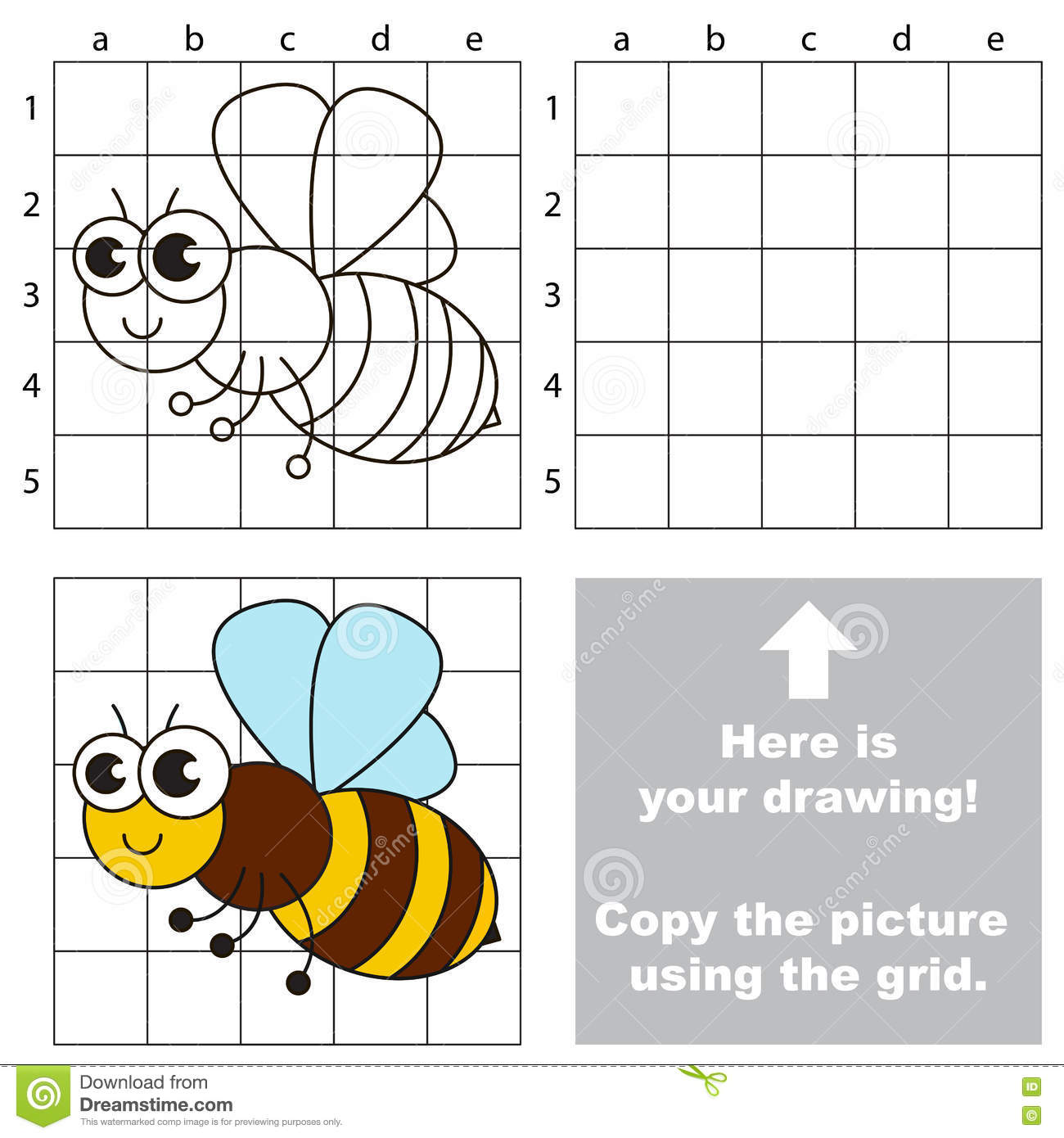 Copy The Image Using Grid The Simple Educational Kid Game Vector Illustration