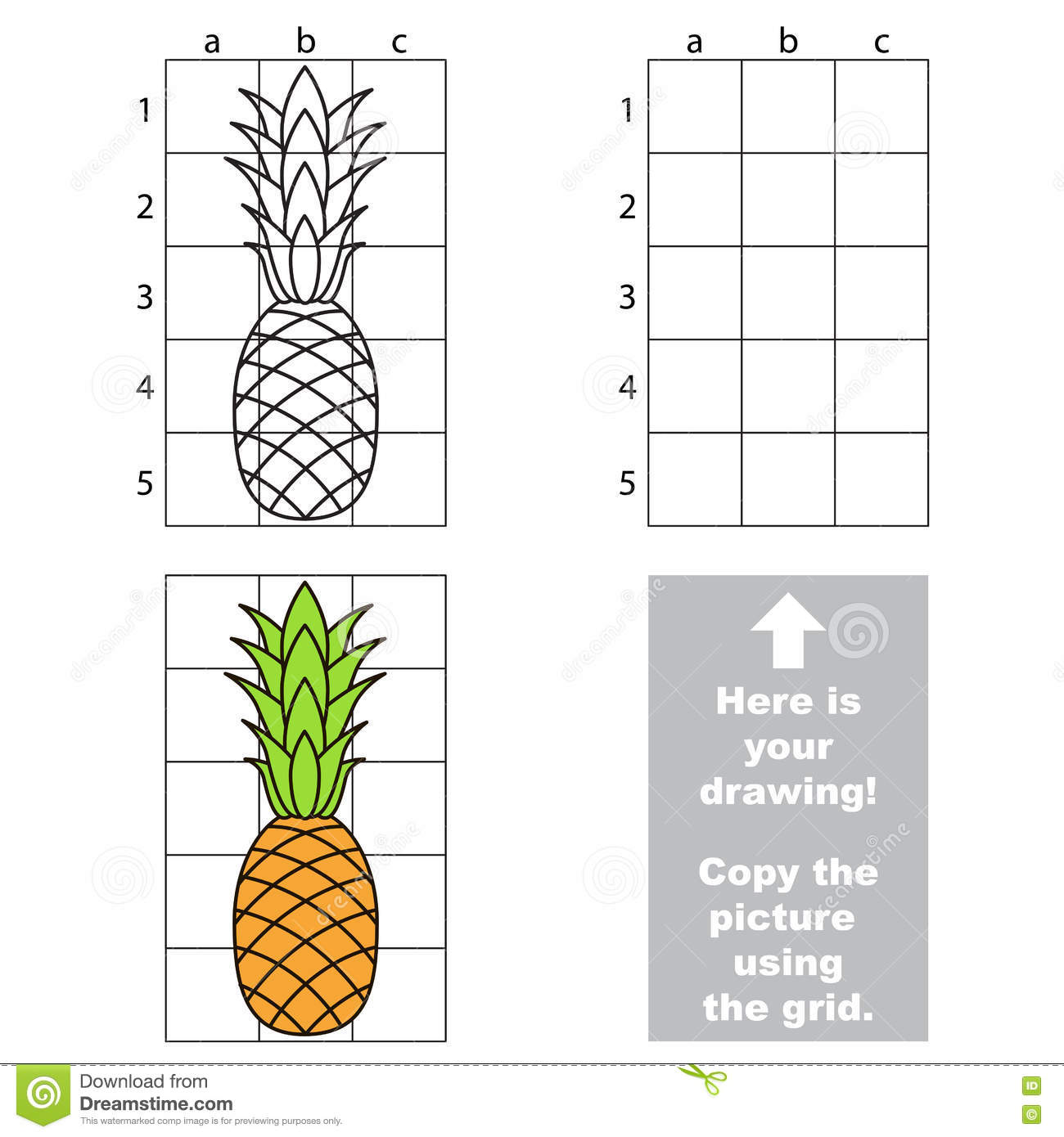 Copy The Image Using Grid Pineapple Stock Vector