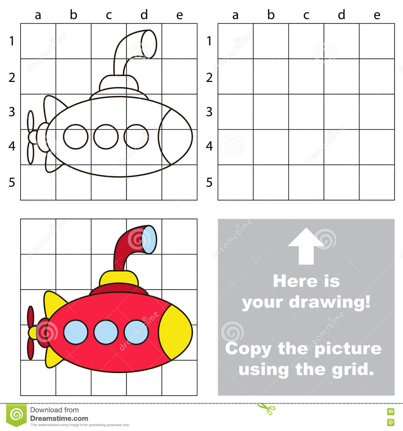 Copy The Image Using Grid Submarine Stock Vector