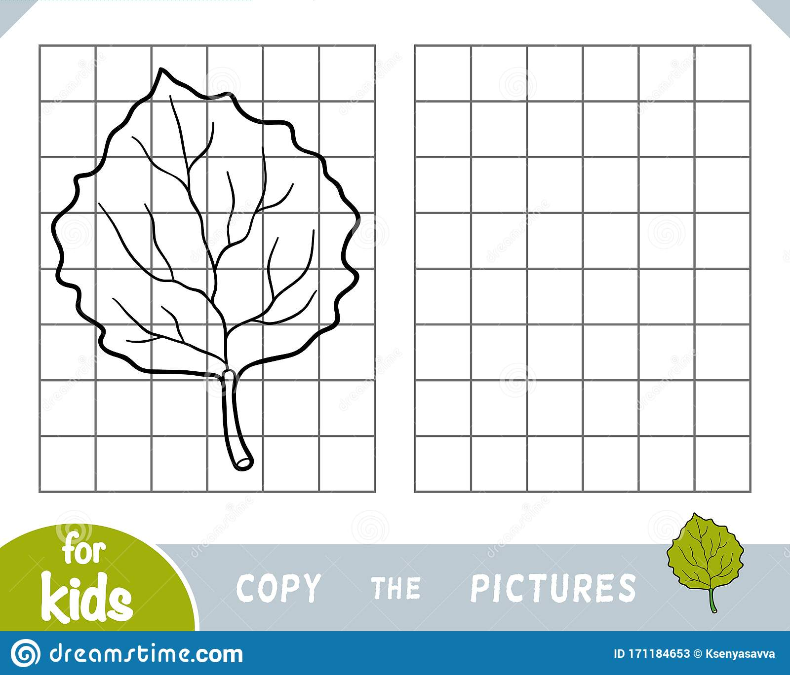 Copy The Picture Game For Children Aspen Leaf Stock