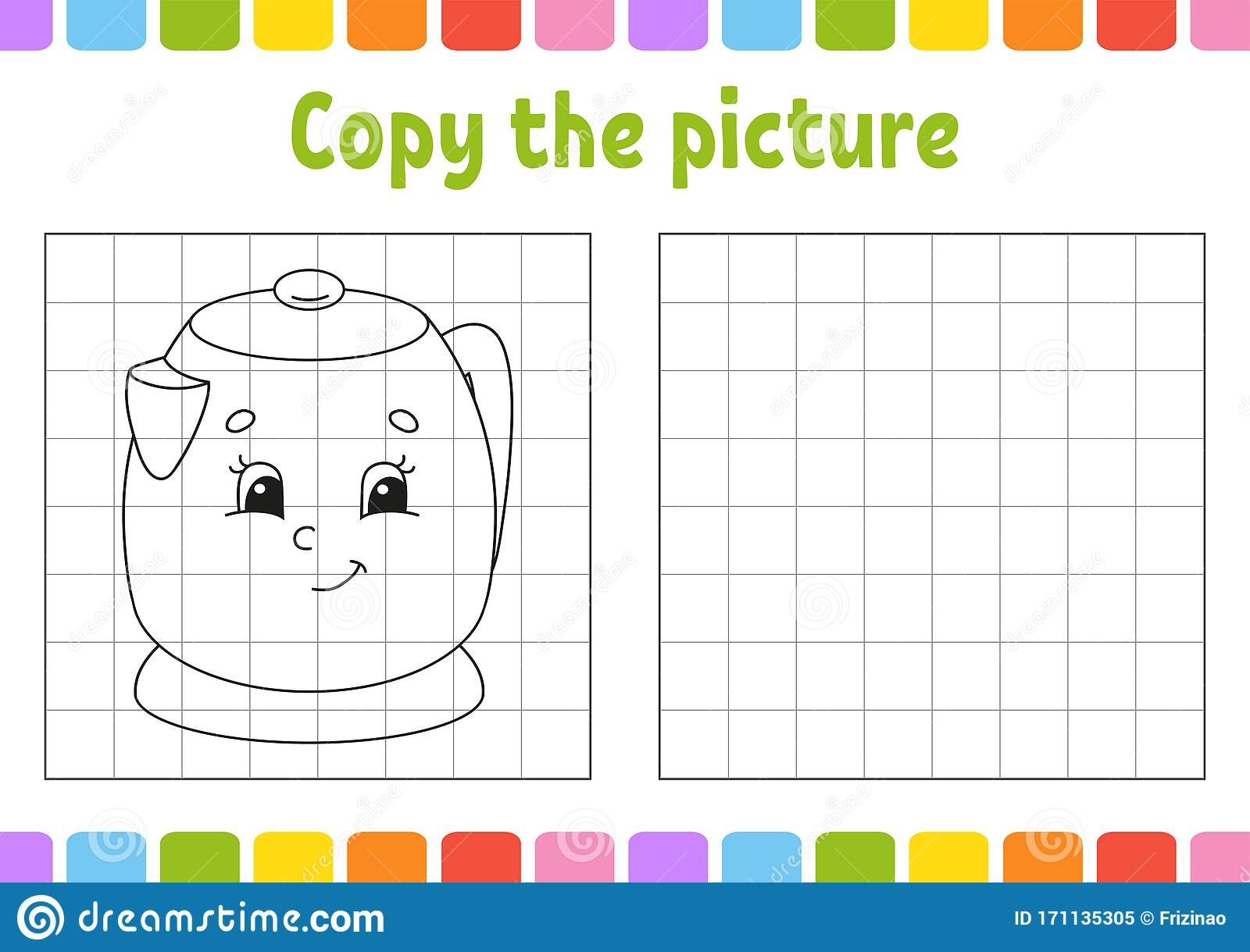 Copy The Picture Kitchen Kettle Coloring Book Pages For