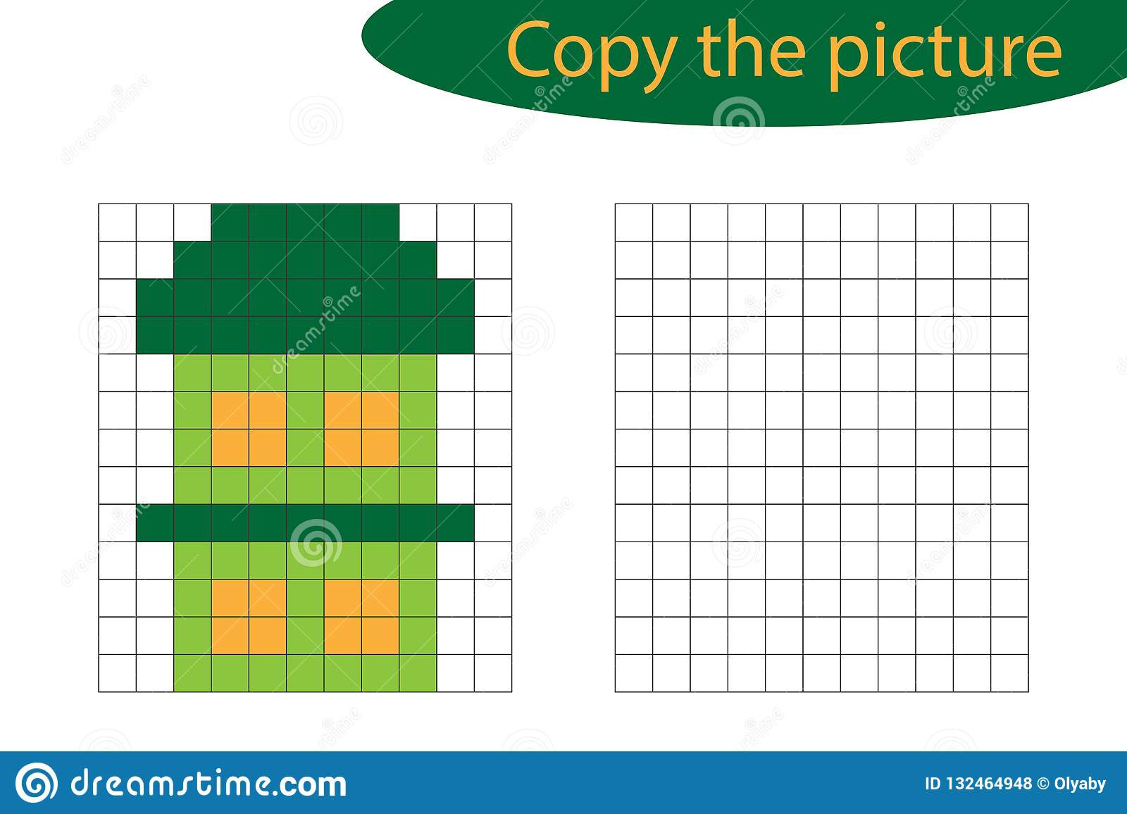 Grid Copy Children Educational Game Drawing Kids Activity Cartoon Vector