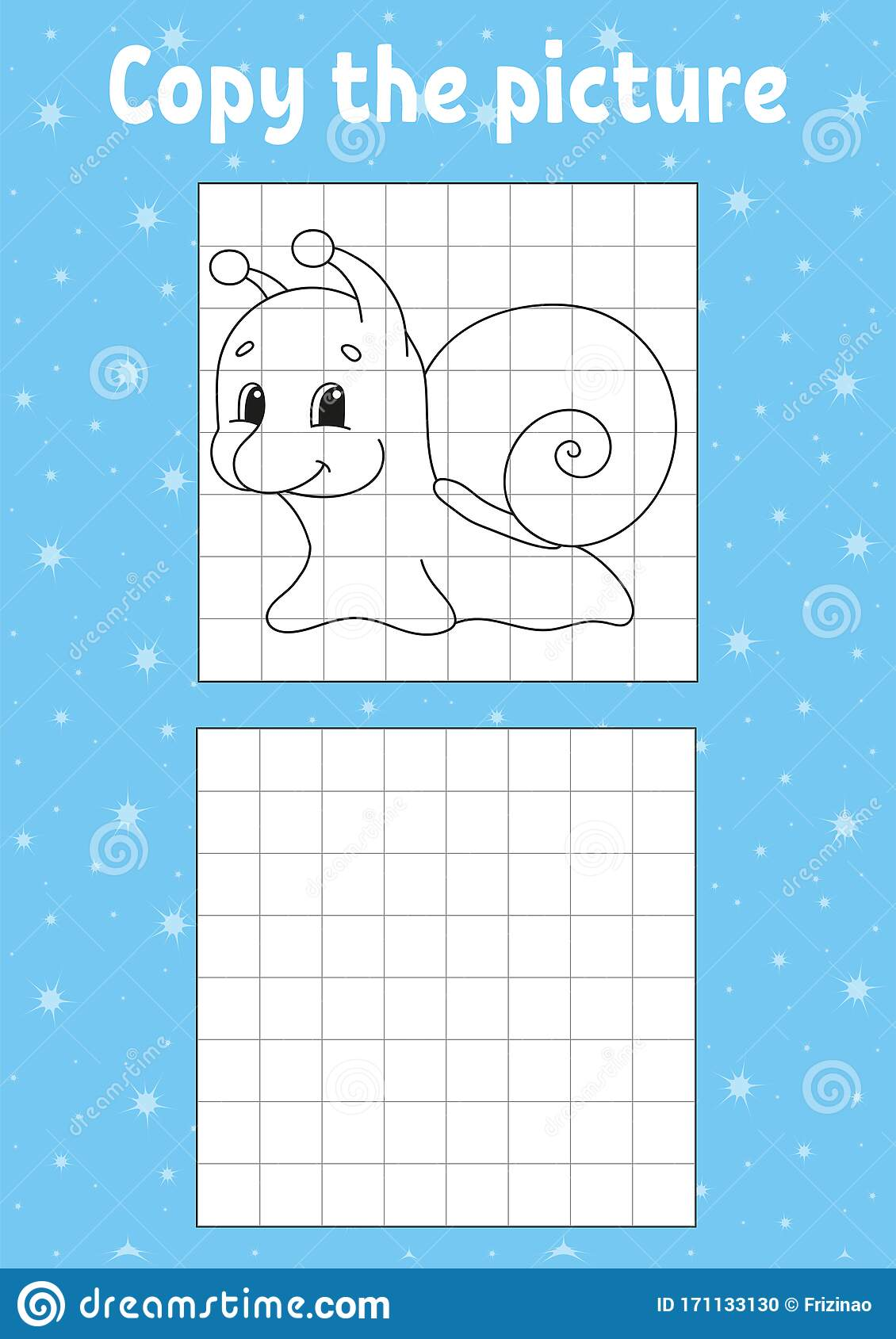 Copy The Picture Snail Mollusk Coloring Book Pages For