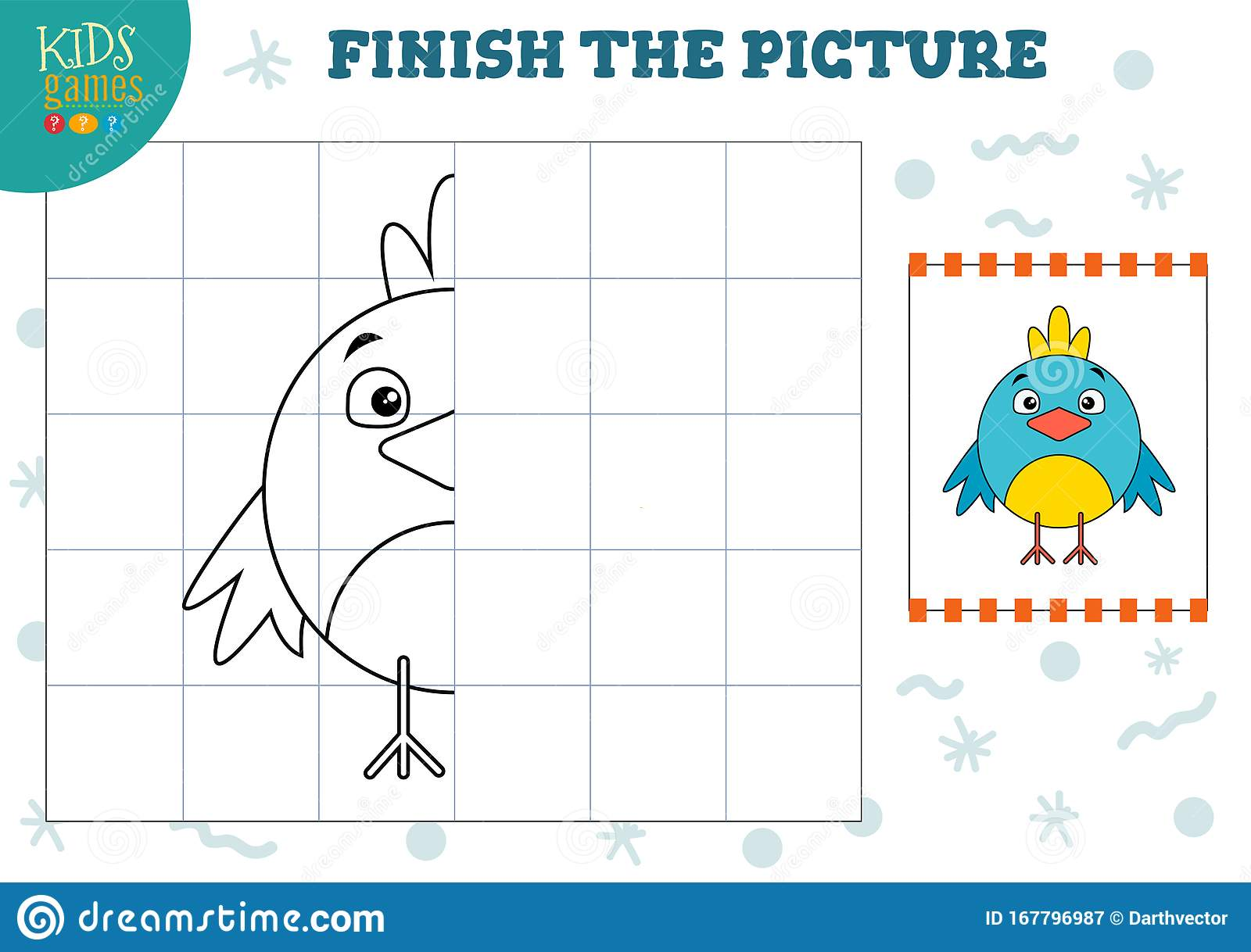 Copy Picture Vector Illustration Complete And Color Game