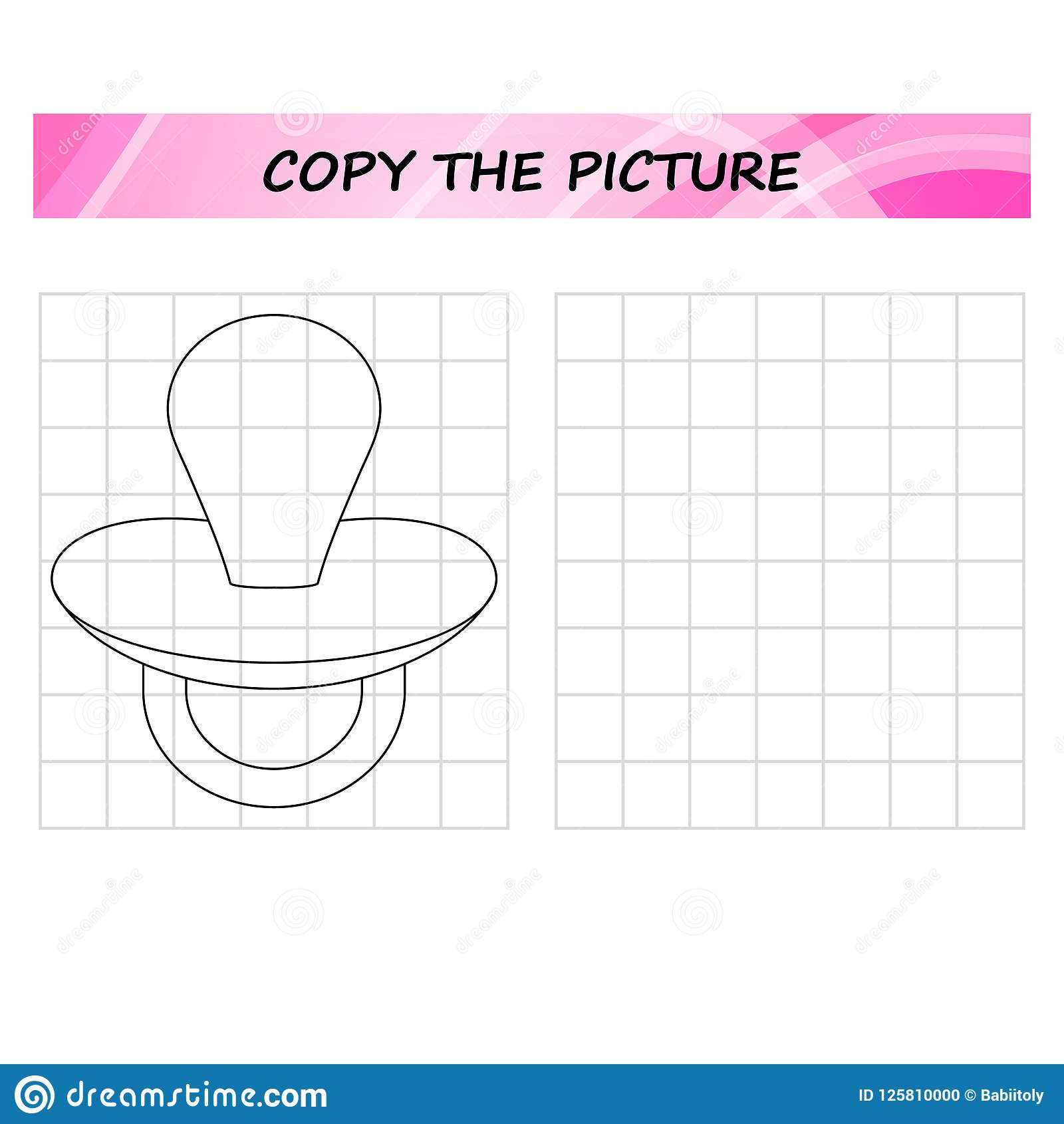 Copy The Picture Worksheet Game For Kids Stock Vector