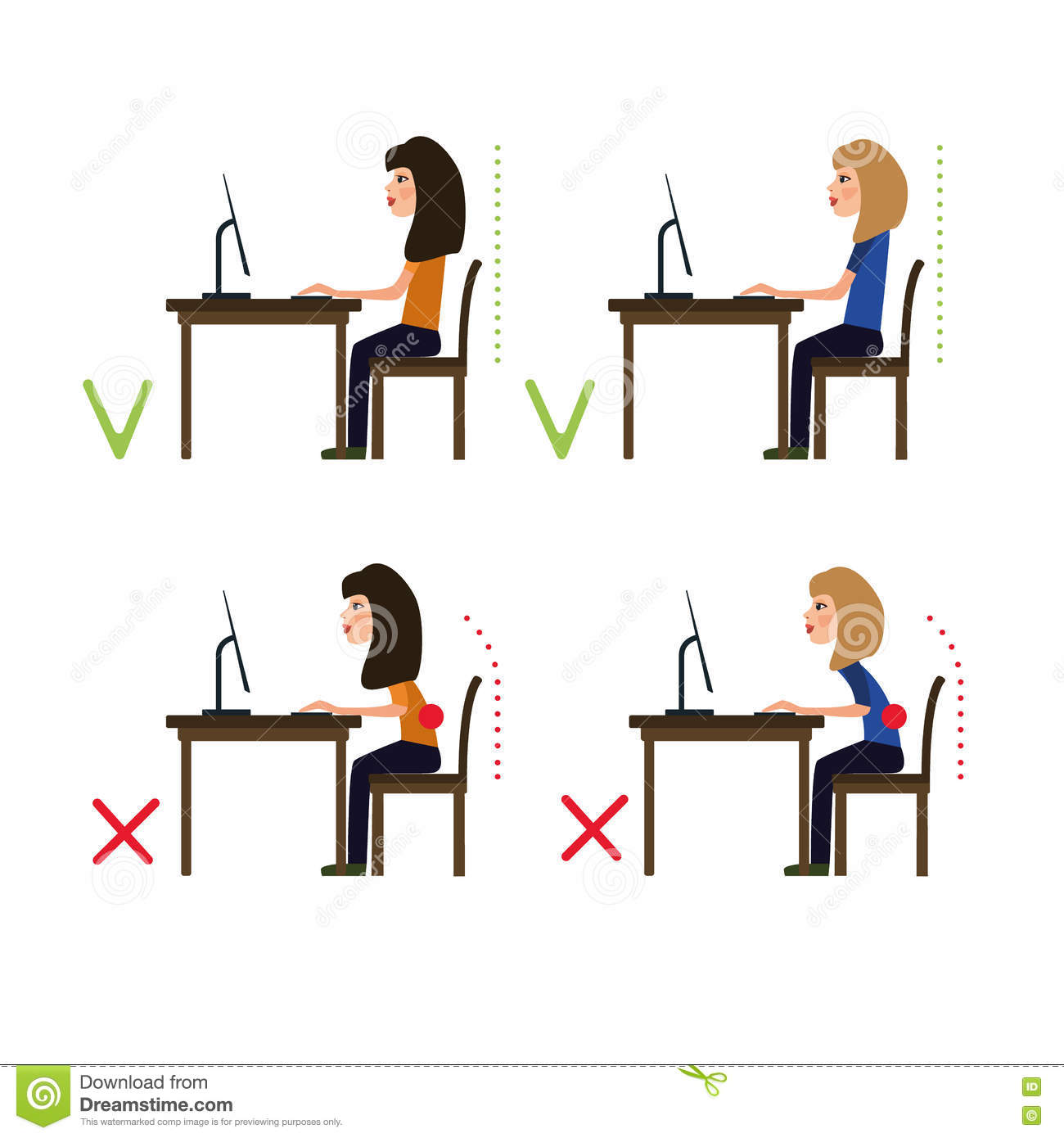 Correct Posture While Working At The Computer Vector