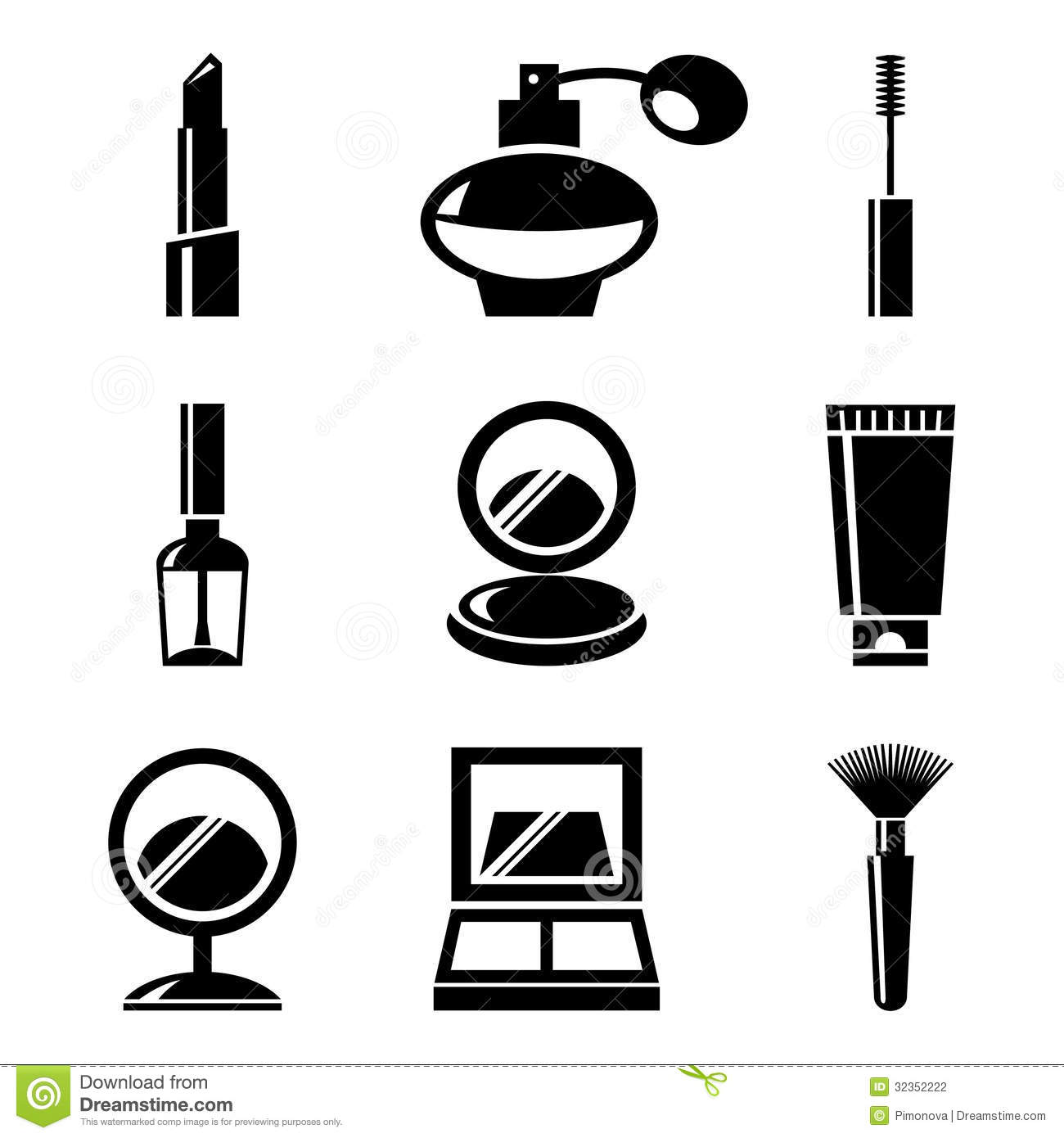 Cosmetics Icons Set Stock Vector Illustration Of Vector