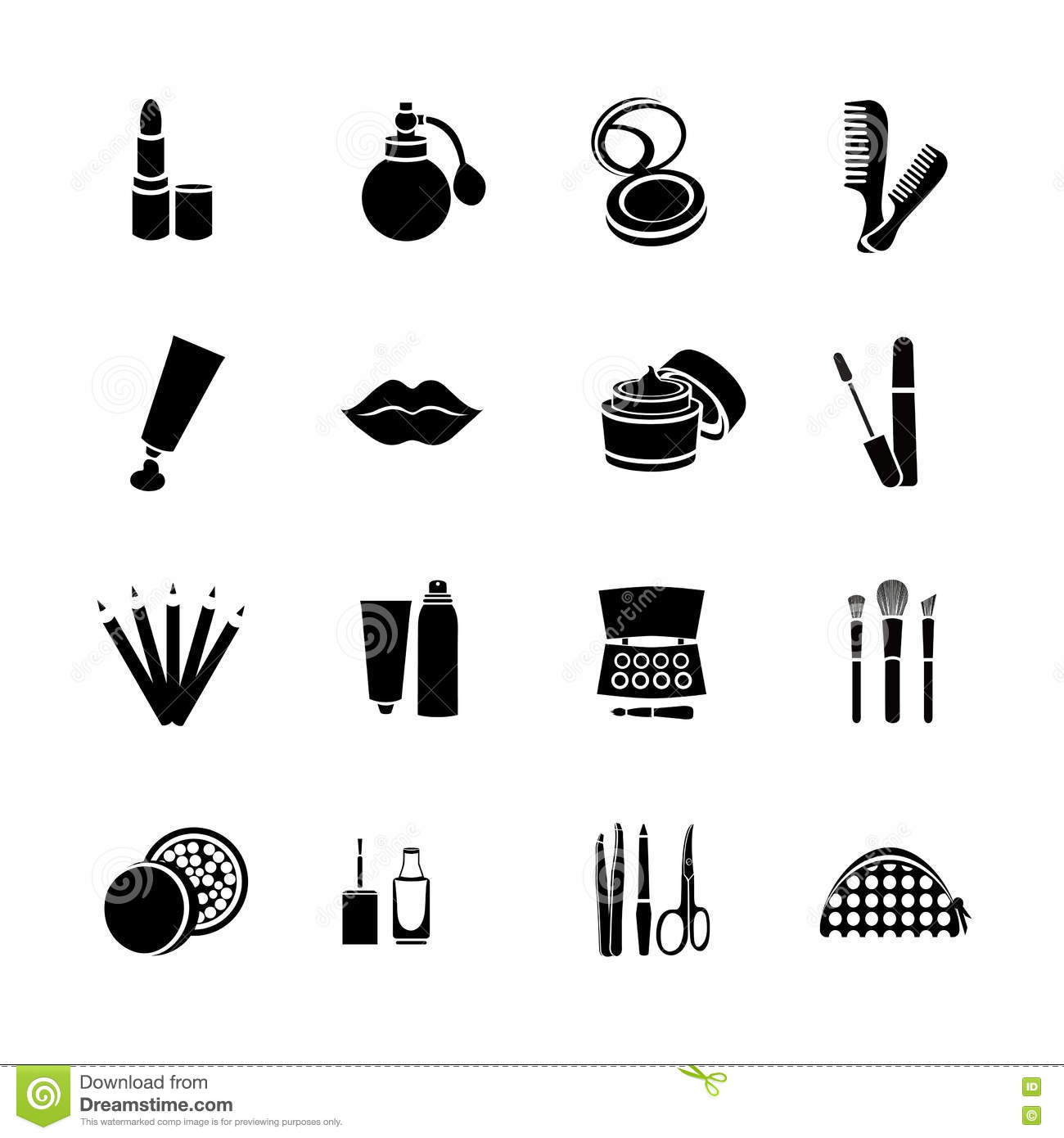 Cosmetics Vector Set Flat Web Icons Black And White With