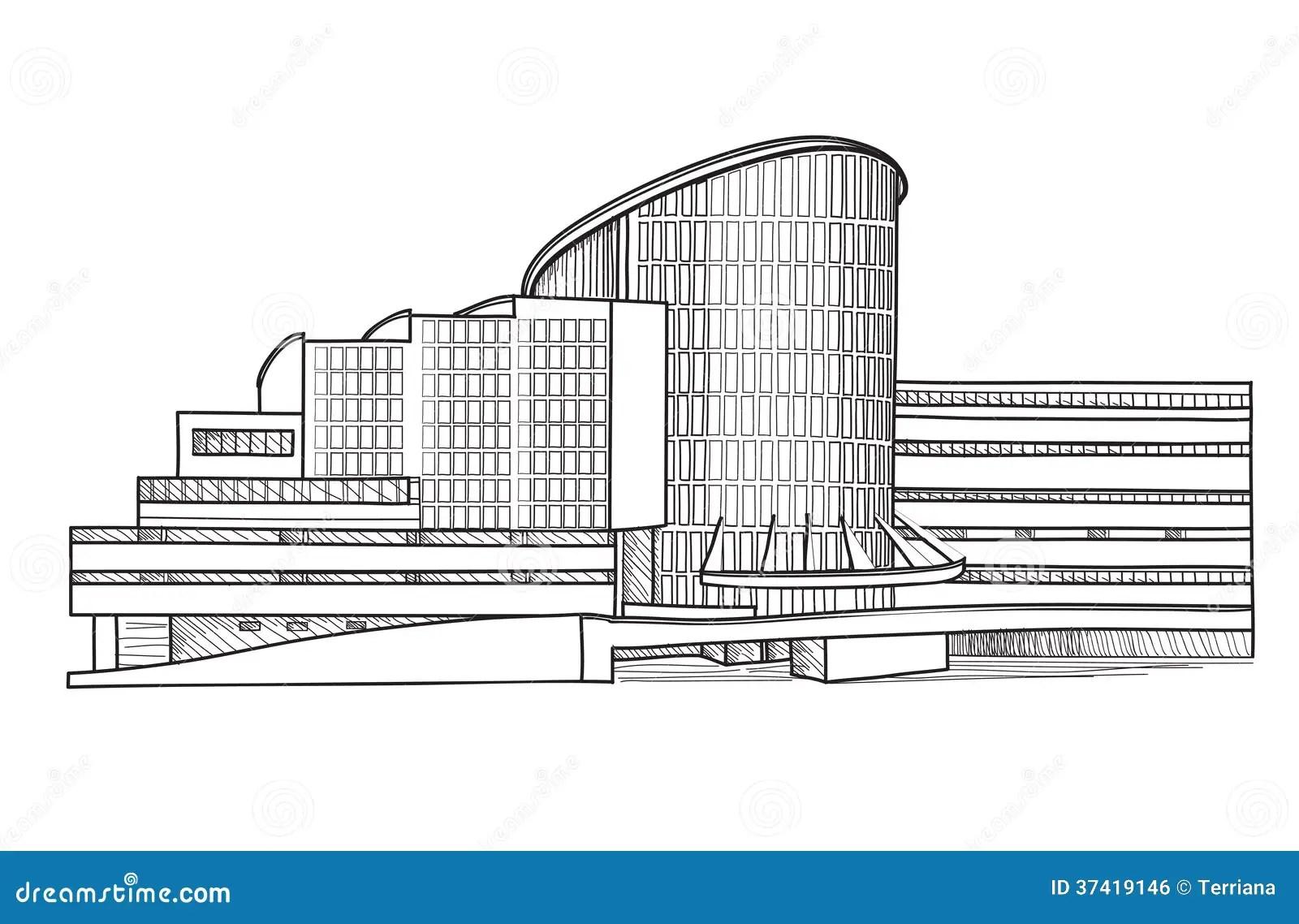 Costruzione Moderna Schizzo Architettonico Raccolta Di