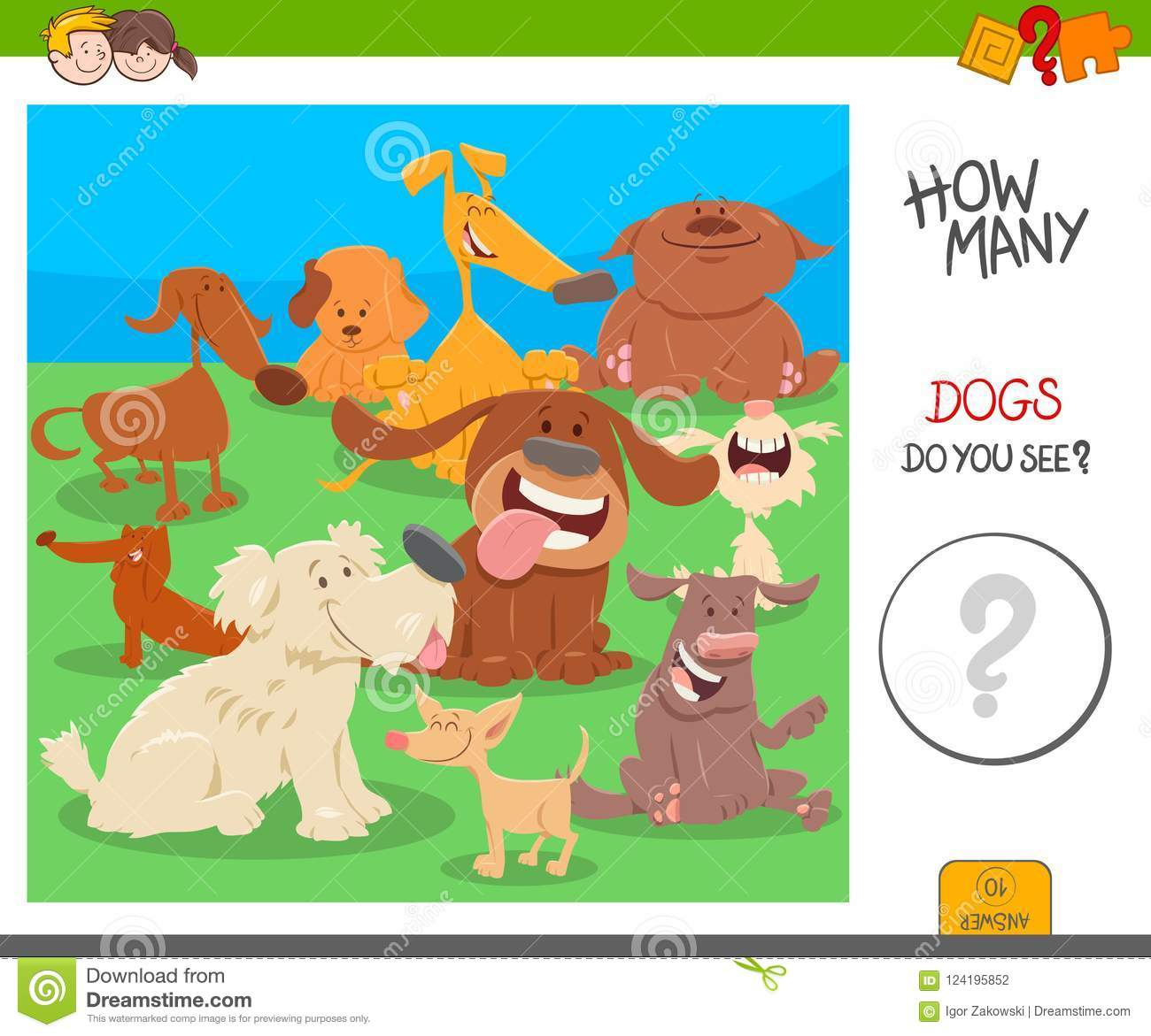 Count The Dogs Activity Worksheet Game Stock Vector