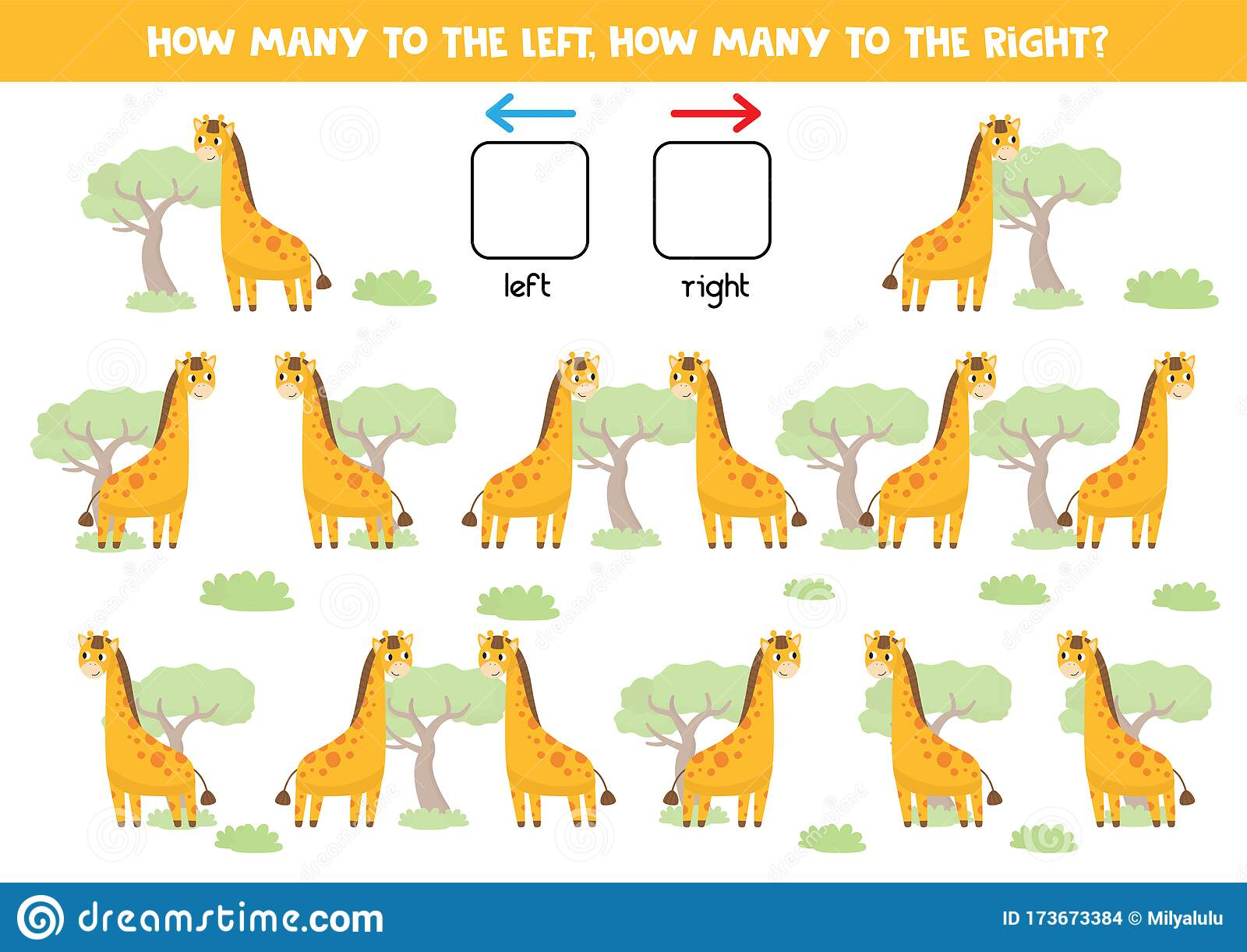 Count How Many Giraffes Go To The Right And Left Stock