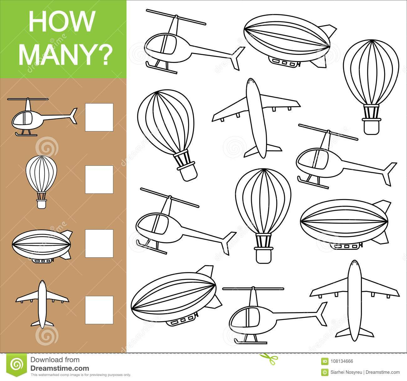 Count How Many Object Of Air Transport Counting