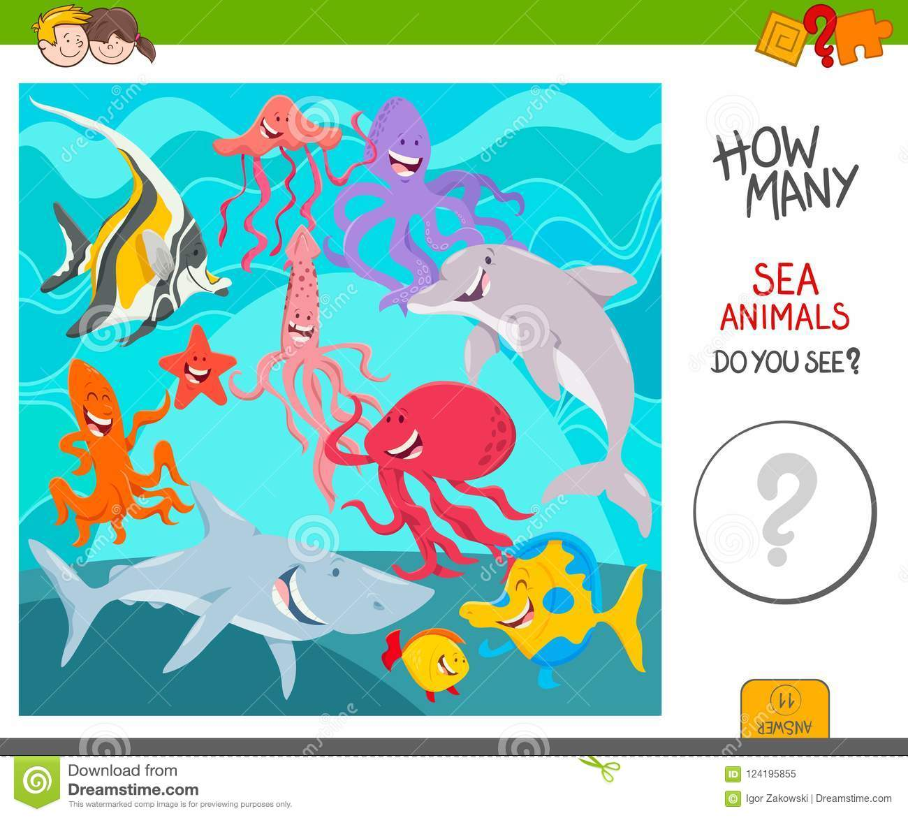Count The Sea Animals Activity Game Stock Vector