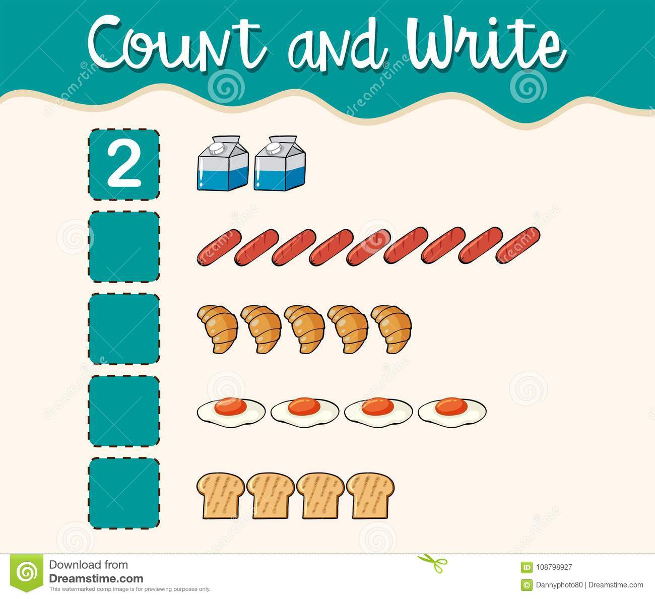 Count And Write With Different Types Of Food Stock Vector